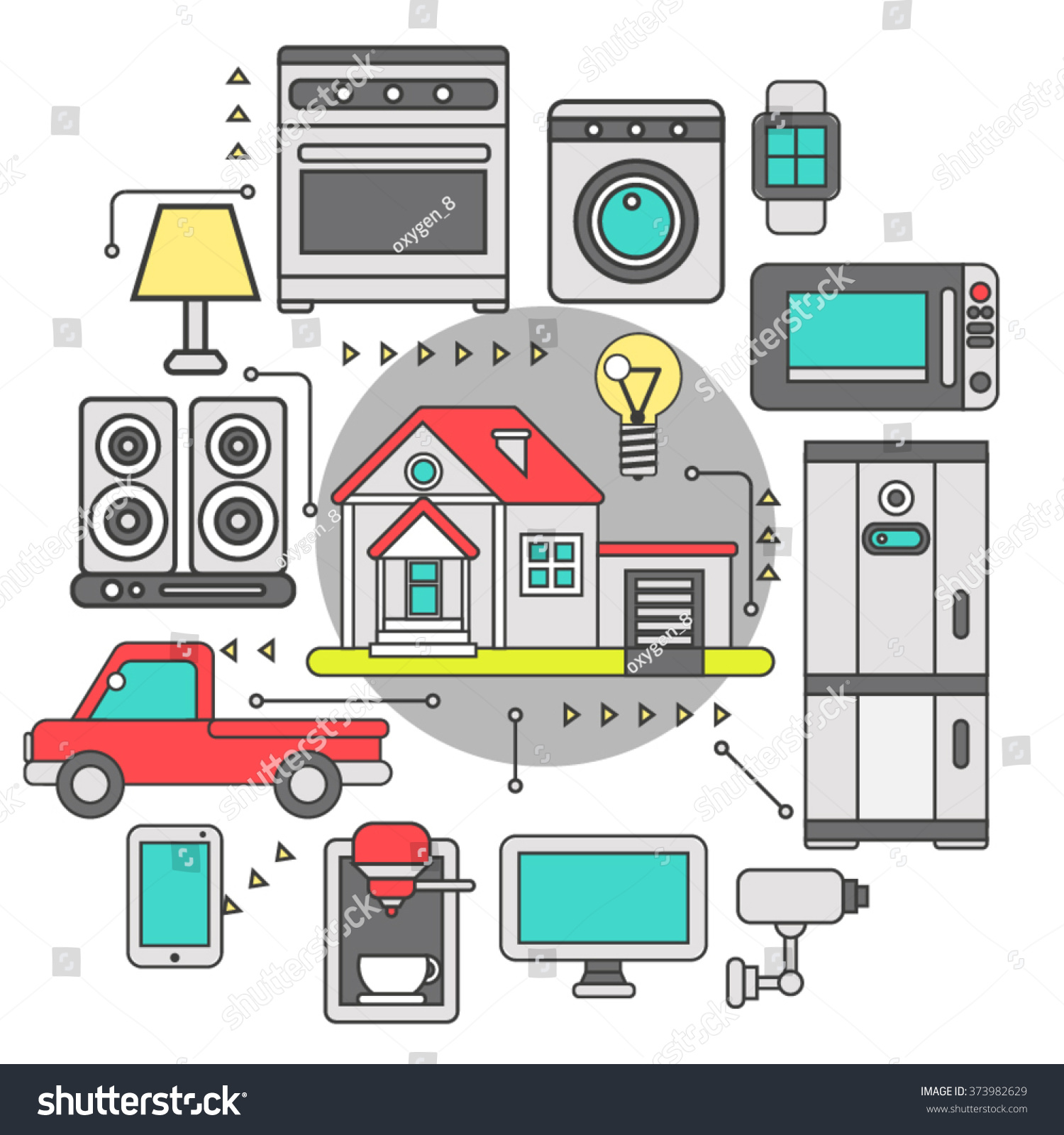 Smart home iot internet things control stock vector for Internet house