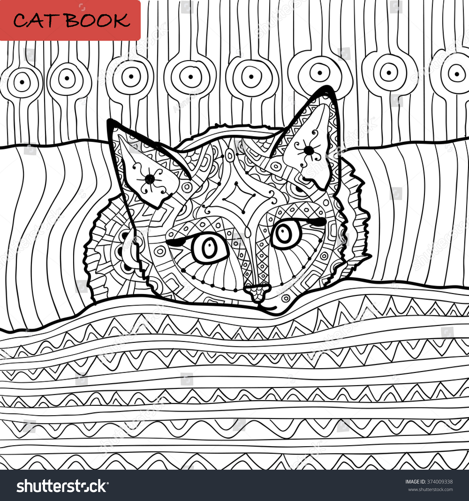 Coloring Book Adults Zentangle Cat Book Stock Vector 374009338 ...