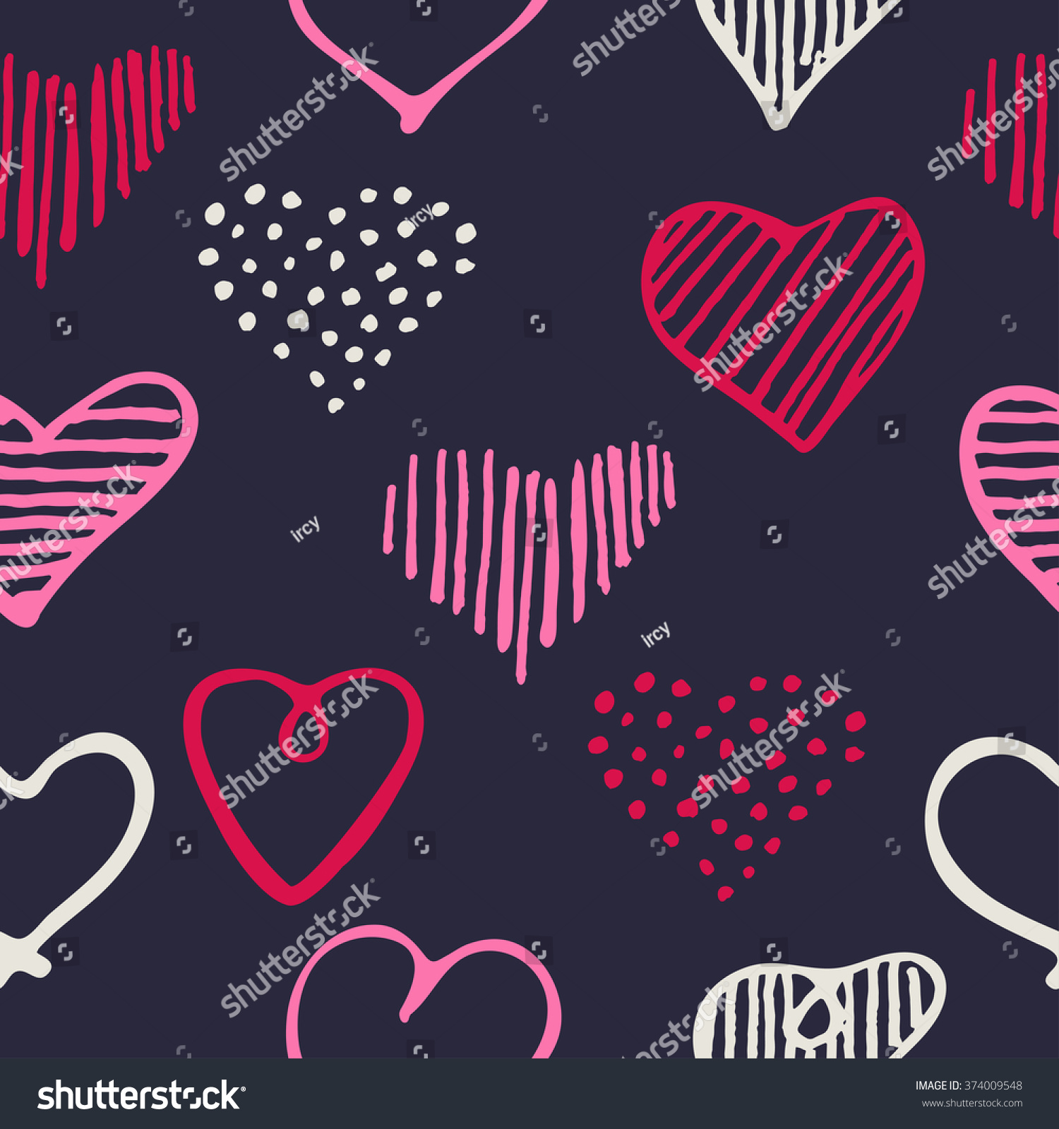 Cool Romantic Love: Love Seamless Pattern Romantic Doodle Hearts Stock Vector