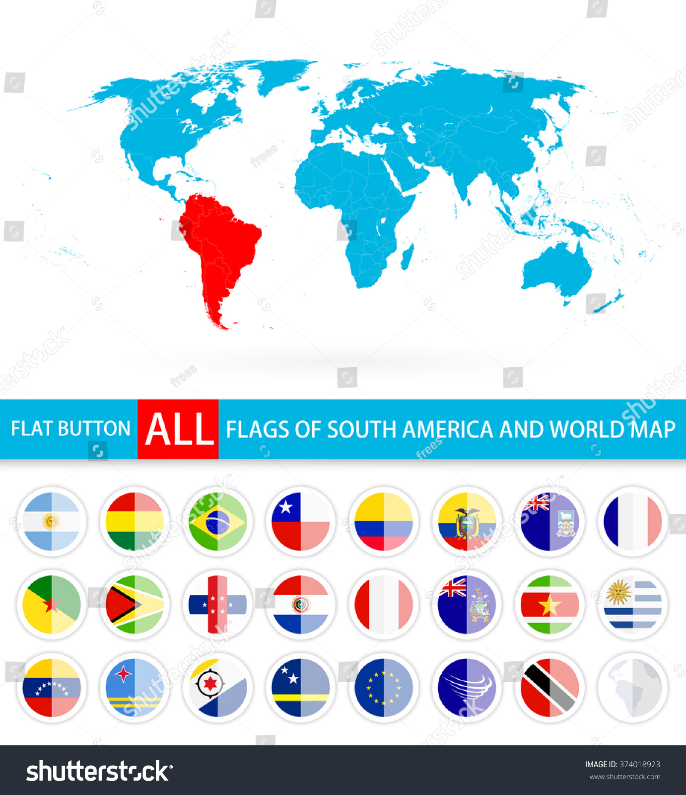 Flat Round Flags Of South America Complete Set And World Map Flag - South america map and flags