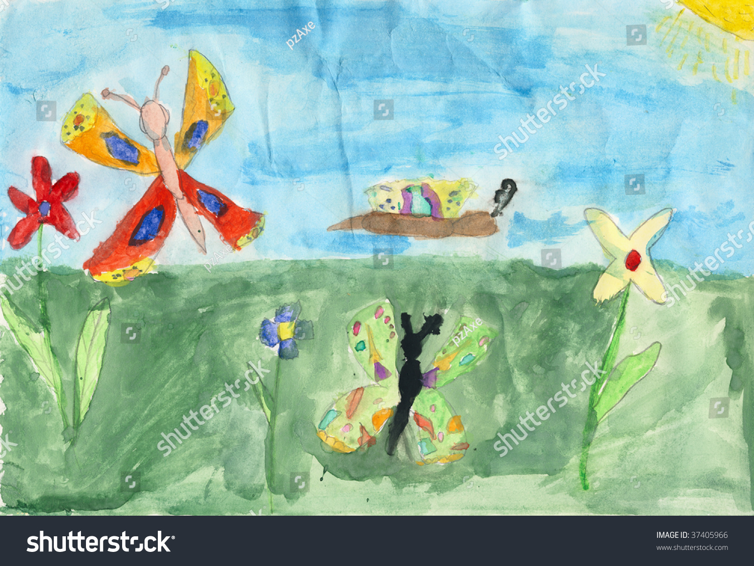 Children Drawing Water Color Paint On Stock Illustration 37405966 ...