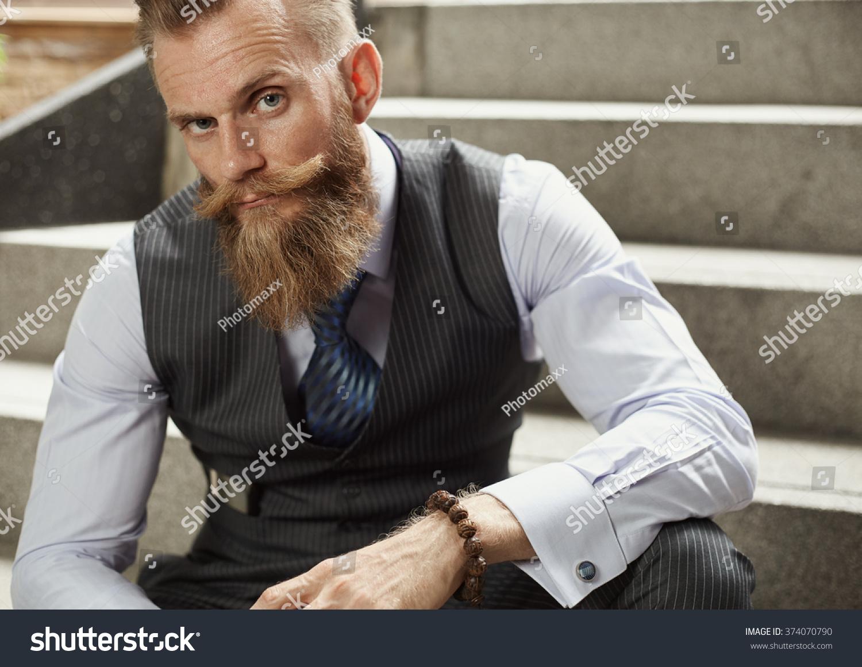 Brilliant Handsom Beard Man Hipster Classic Suit Stock Photo 374070790 Short Hairstyles Gunalazisus