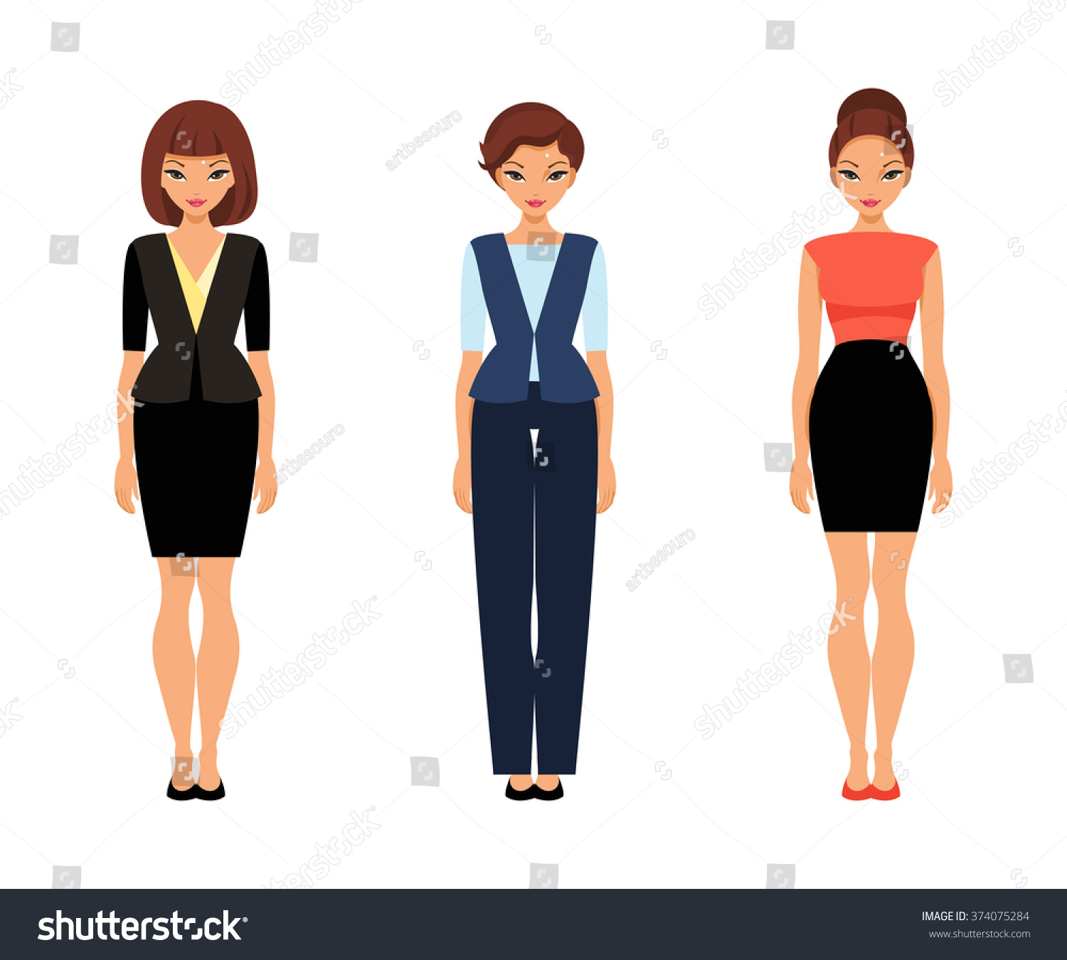 Set Women Office Clothes Template Paper Stock Vector Royalty Free