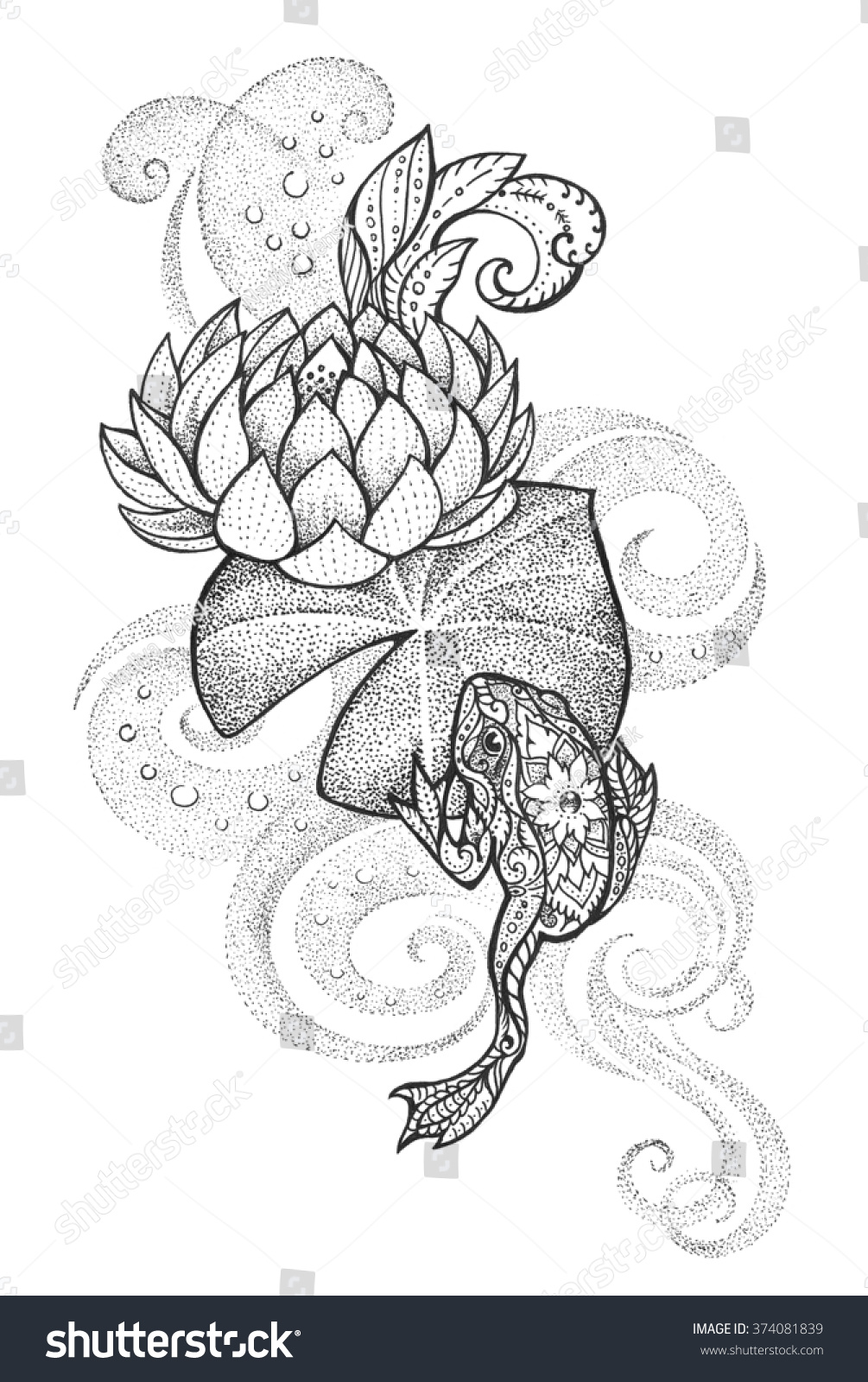 Tattoo Frog Floral Ornament On Lotus Stock Illustration Royalty