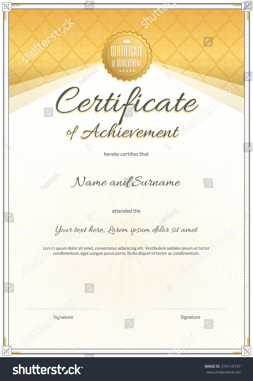 Certificate template portrait vector format achievement stock certificate template in portrait and vector format for achievement graduation completion yadclub Image collections