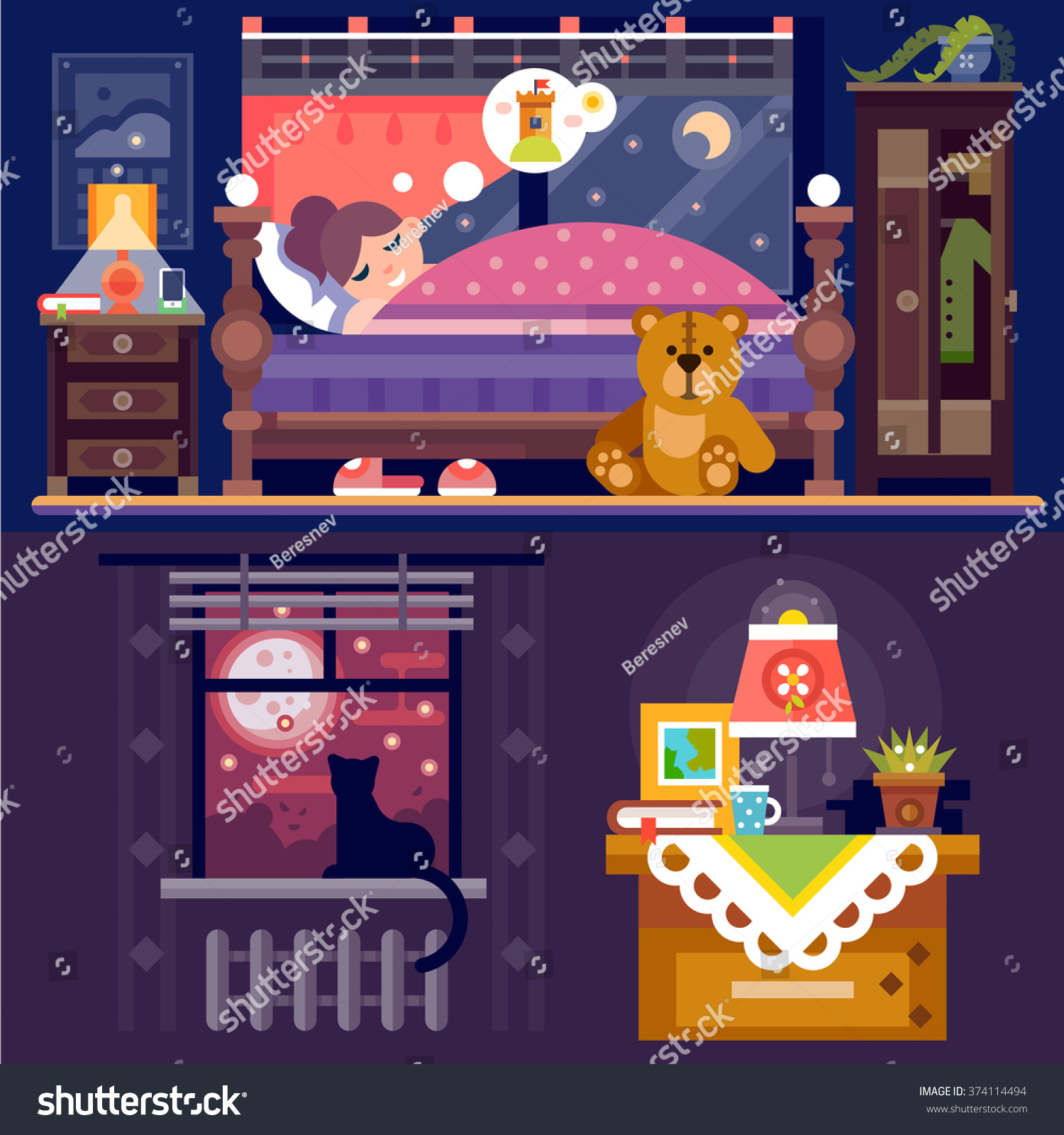Sleeping Time Dreaming Girl Cozy Bedroom Stock Vector 374114494