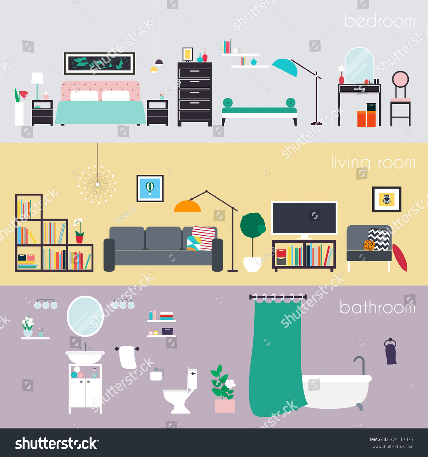 Set colorful vector interior design house stock vector for Interior design images vector