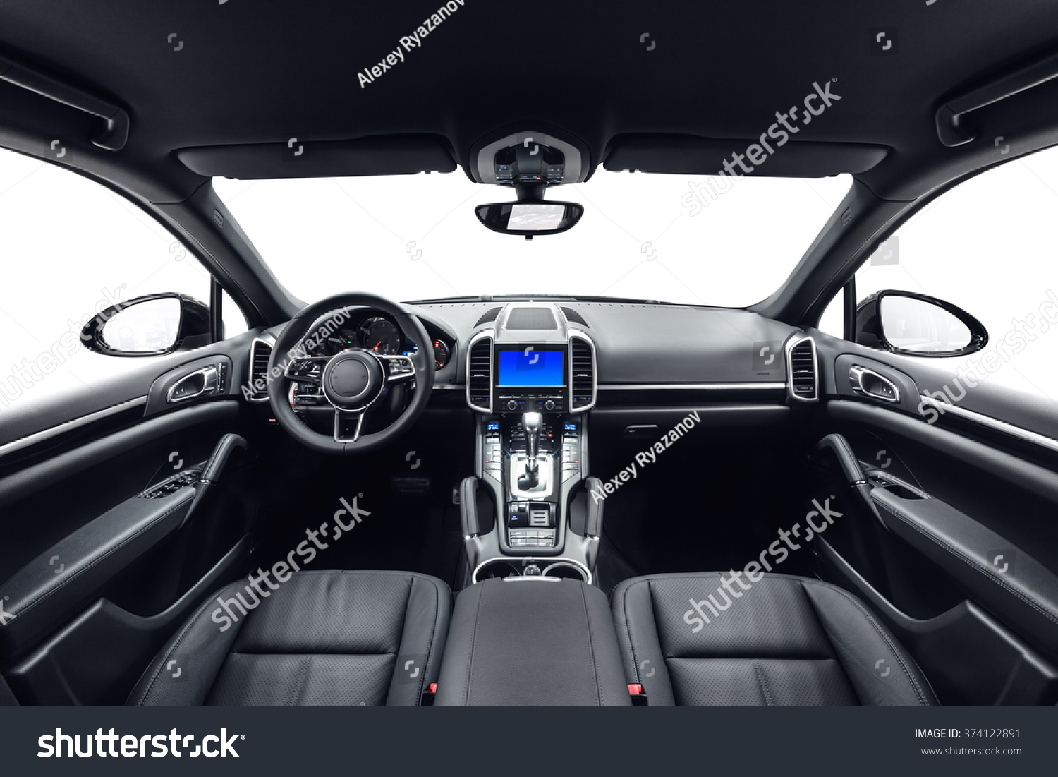 car inside interior prestige modern car stock photo 374122891 shutterstock. Black Bedroom Furniture Sets. Home Design Ideas