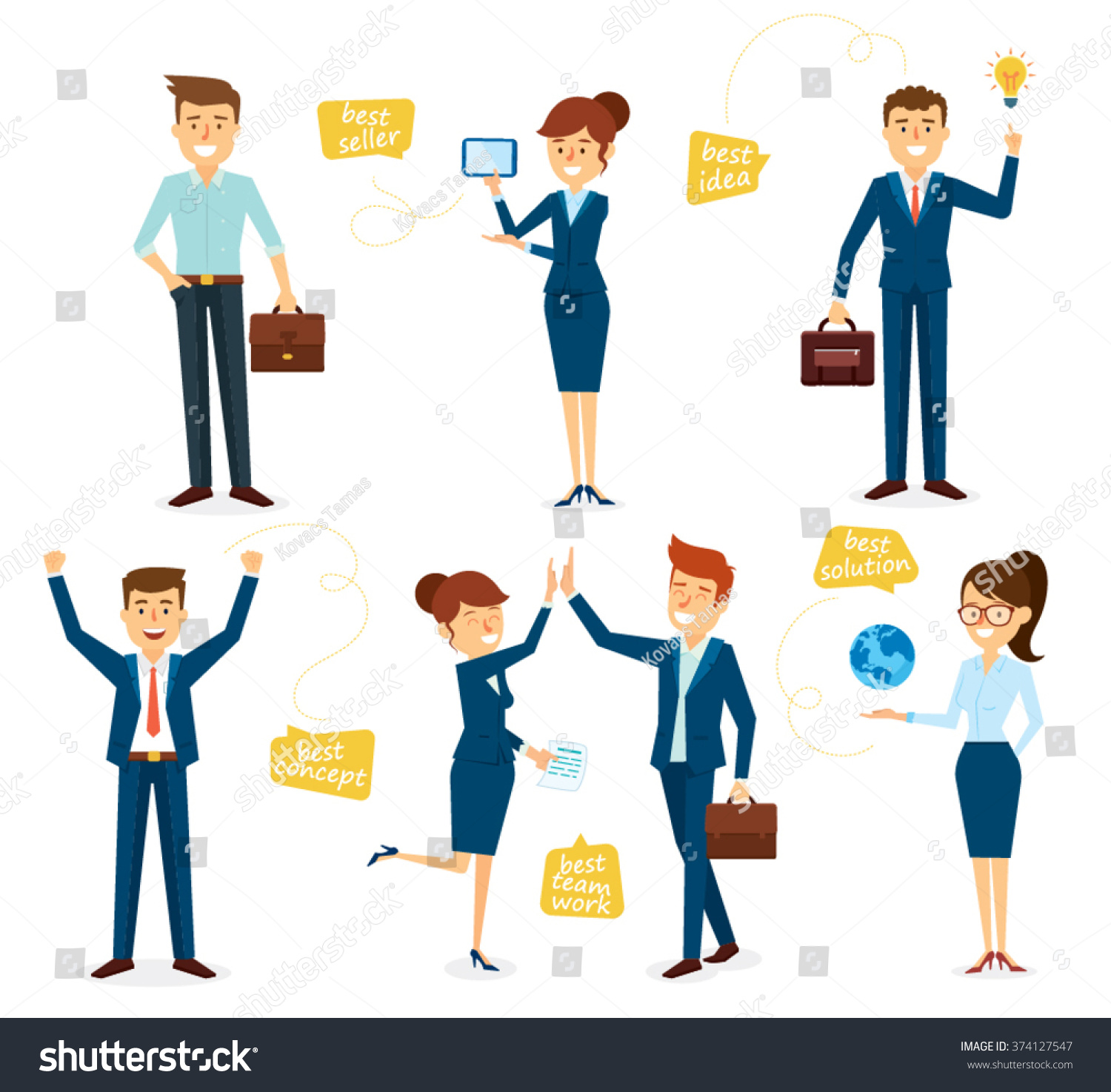 Character Design Kit : Business character design set employees stock vector