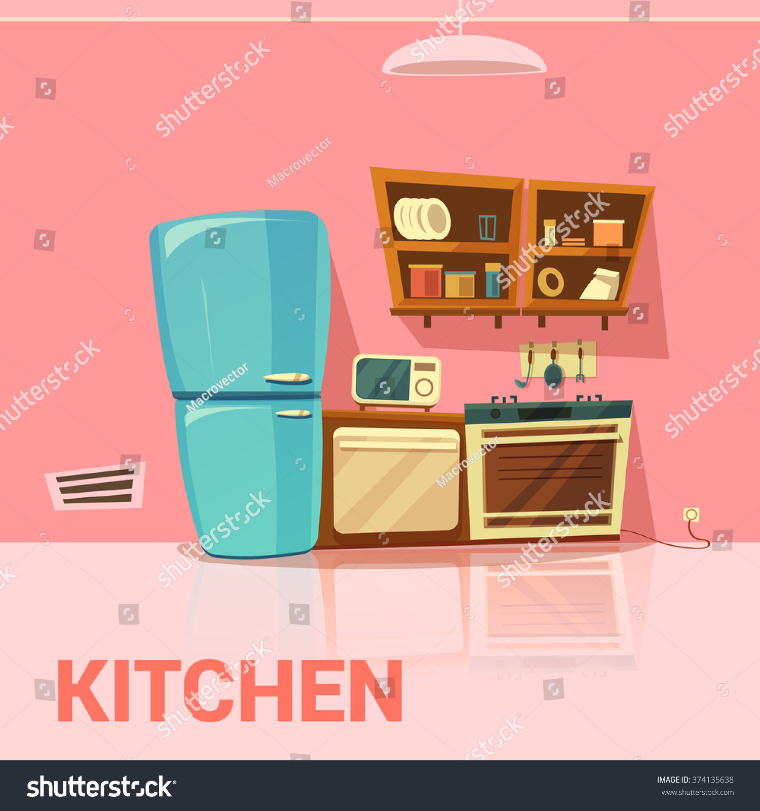 Cartoon kitchen with cabinets and window vector art illustration - Kitchen Retro Design With Fridge Microwave Oven And Cooker Cartoon Vector Illustration