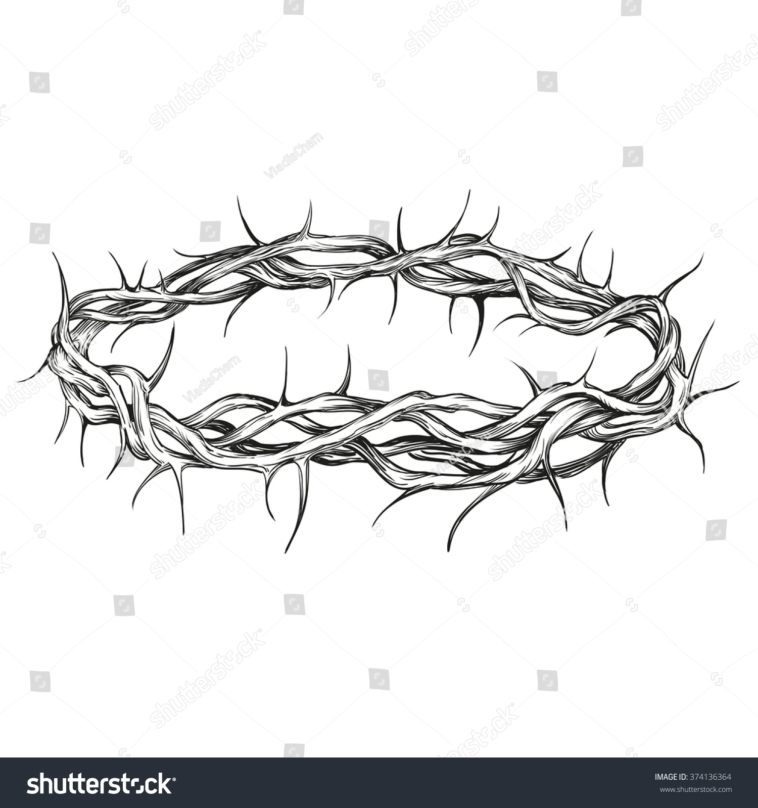 Crown Thorns Religious Symbol Hand Drawn Stock Vector 374136364 ...