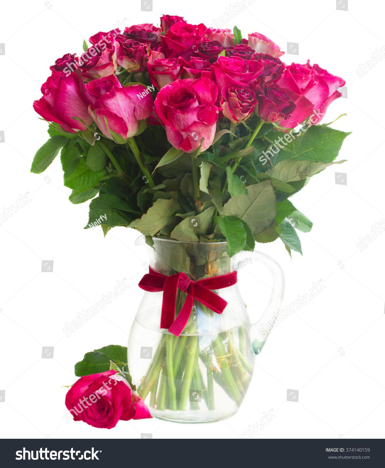 Bunch Dark Pink Rose Flowers Glass Stock Photo Edit Now 374140159