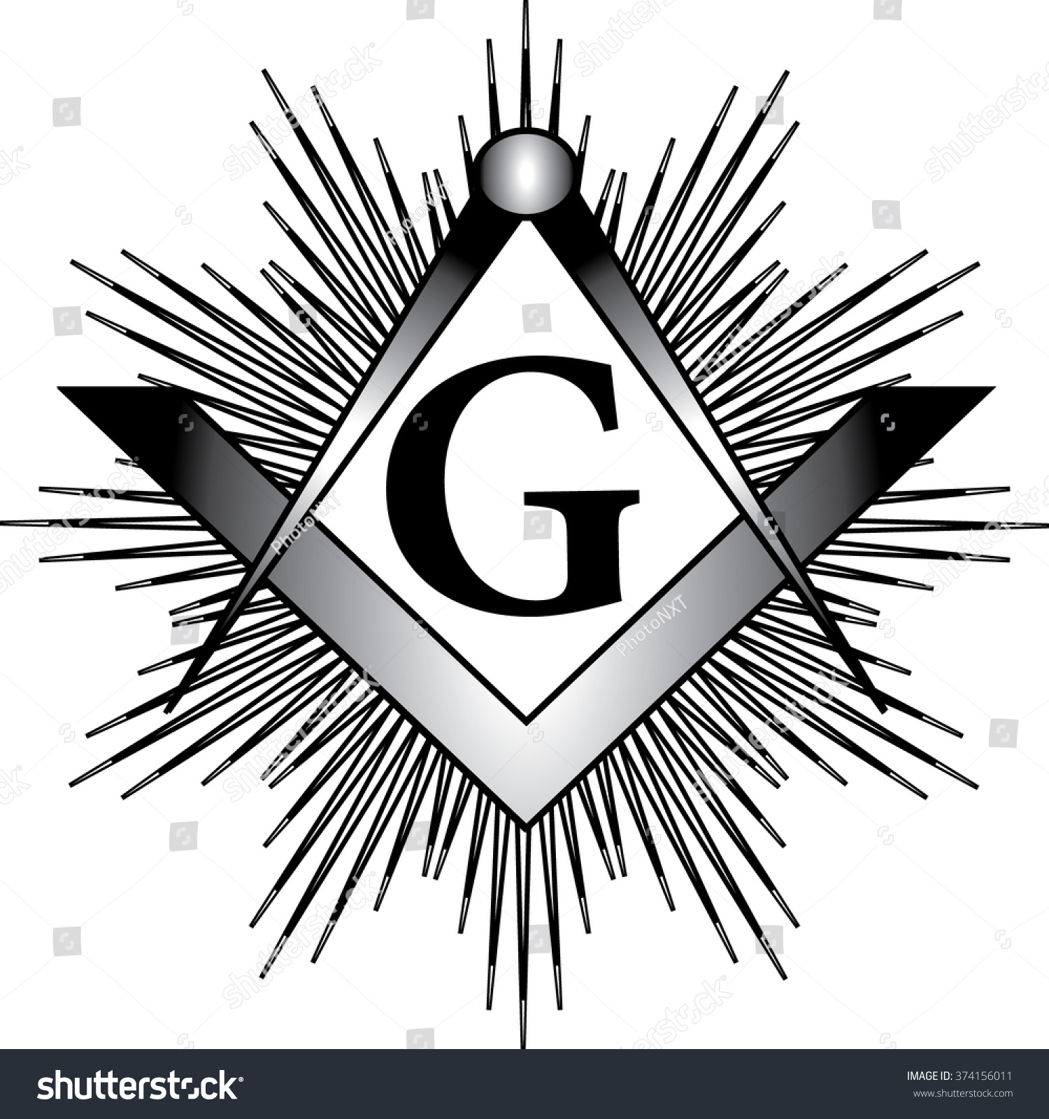 Masonic Square Compass G Letter Rays Stock Photo Photo Vector