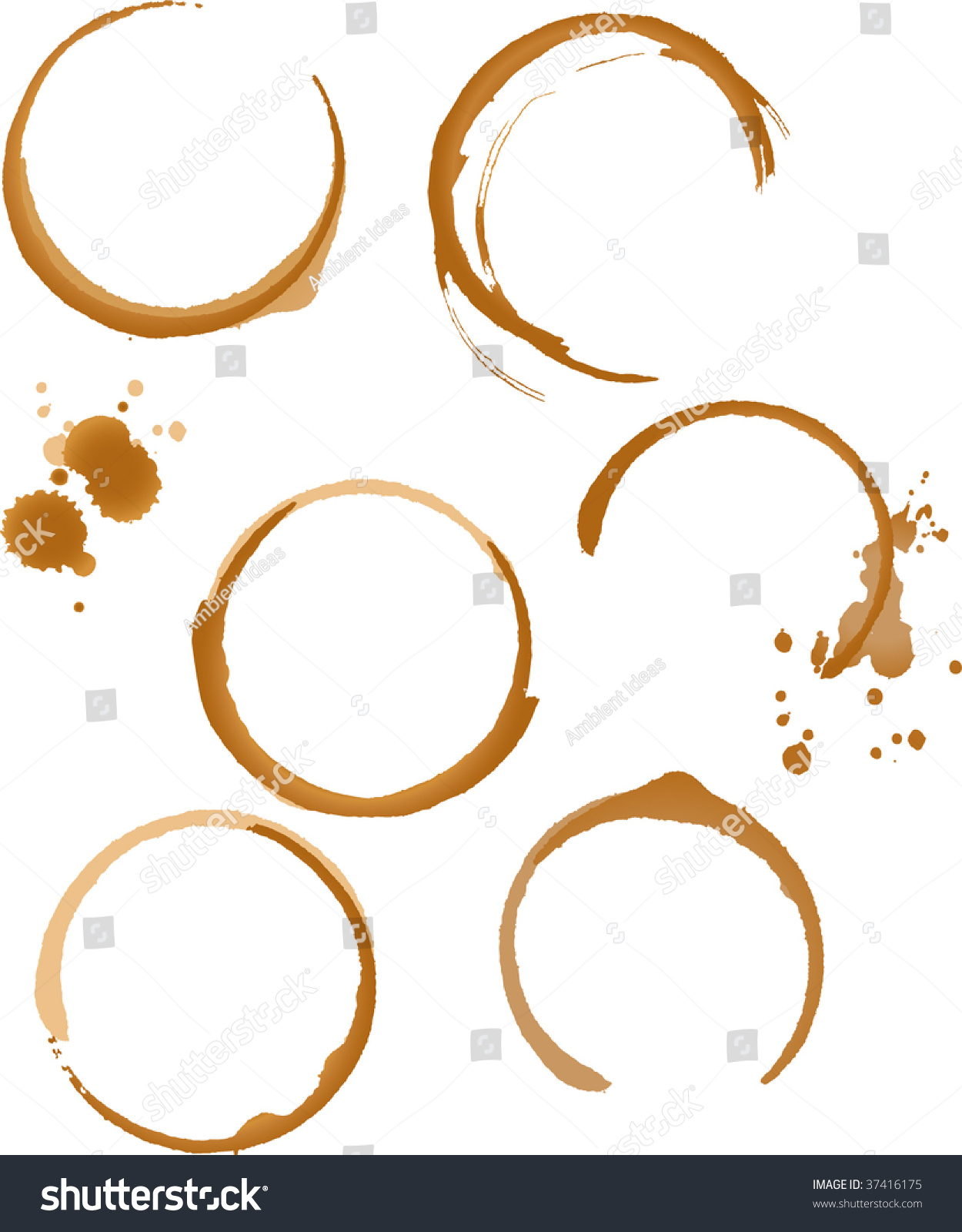 Coffee Stain Rings Vector Stock Vector 37416175 - Shutterstock