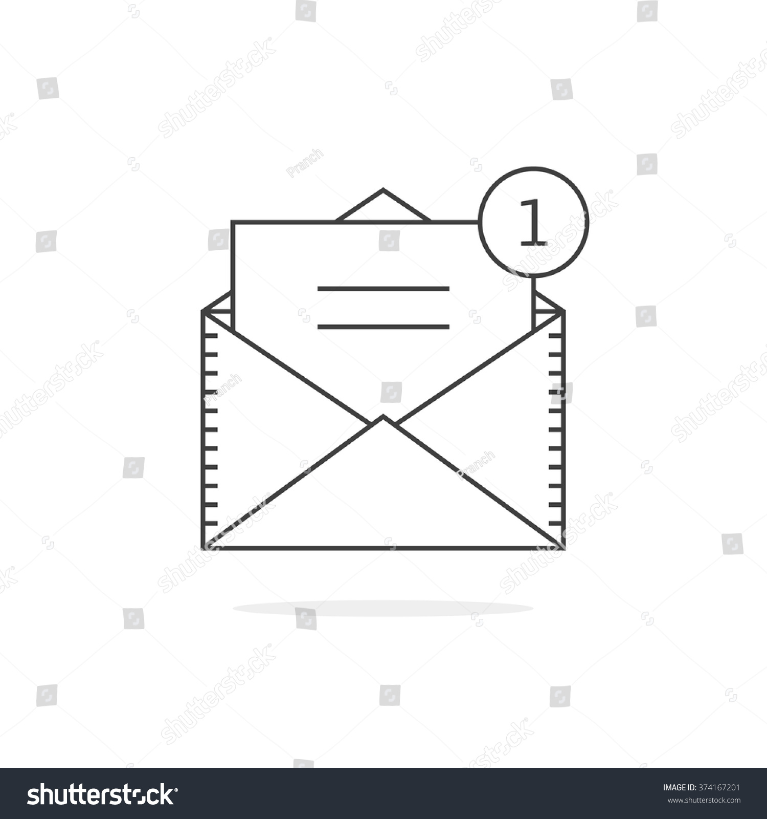 Thin Line Email Notification Icon Concept Stock Vector Royalty Free