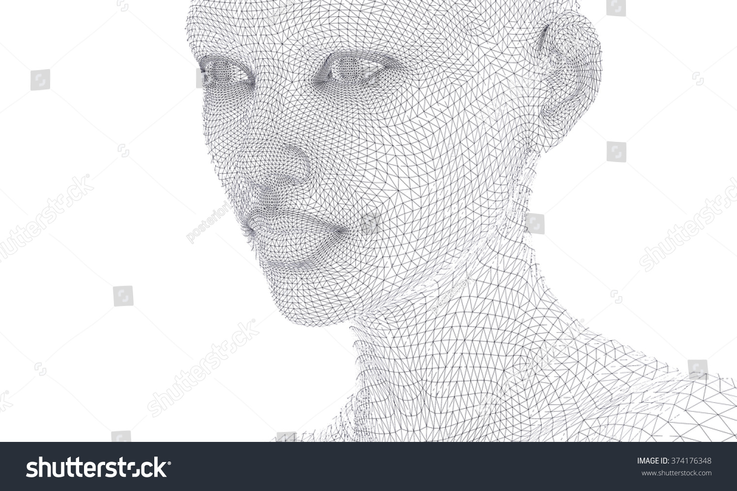Woman Face Wireframe Lines Isolated On Stock Illustration 374176348