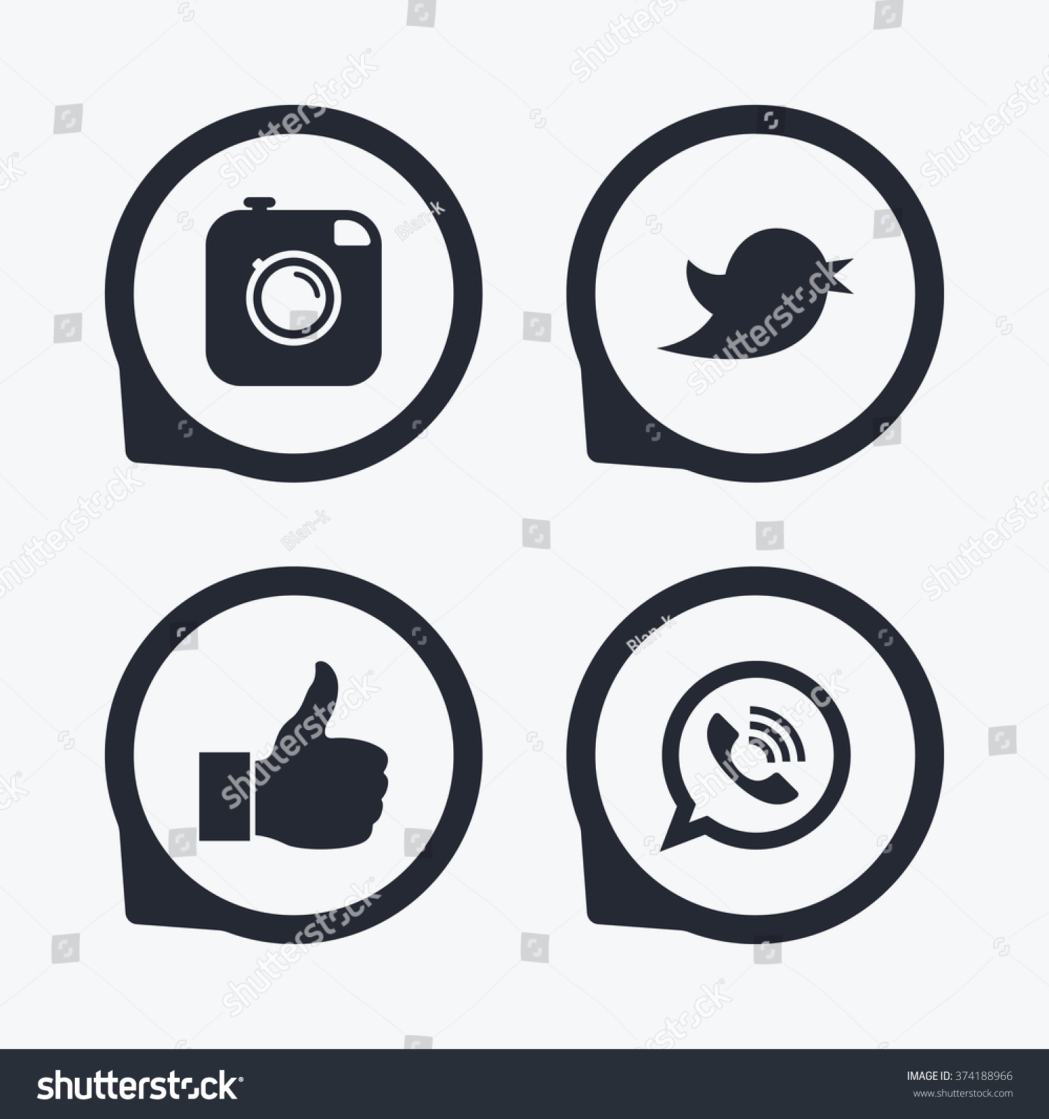 Hipster photo camera icon. Like and Call speech bubble sign. Bird symbol. Social media icons. Flat icon pointers. #374188966