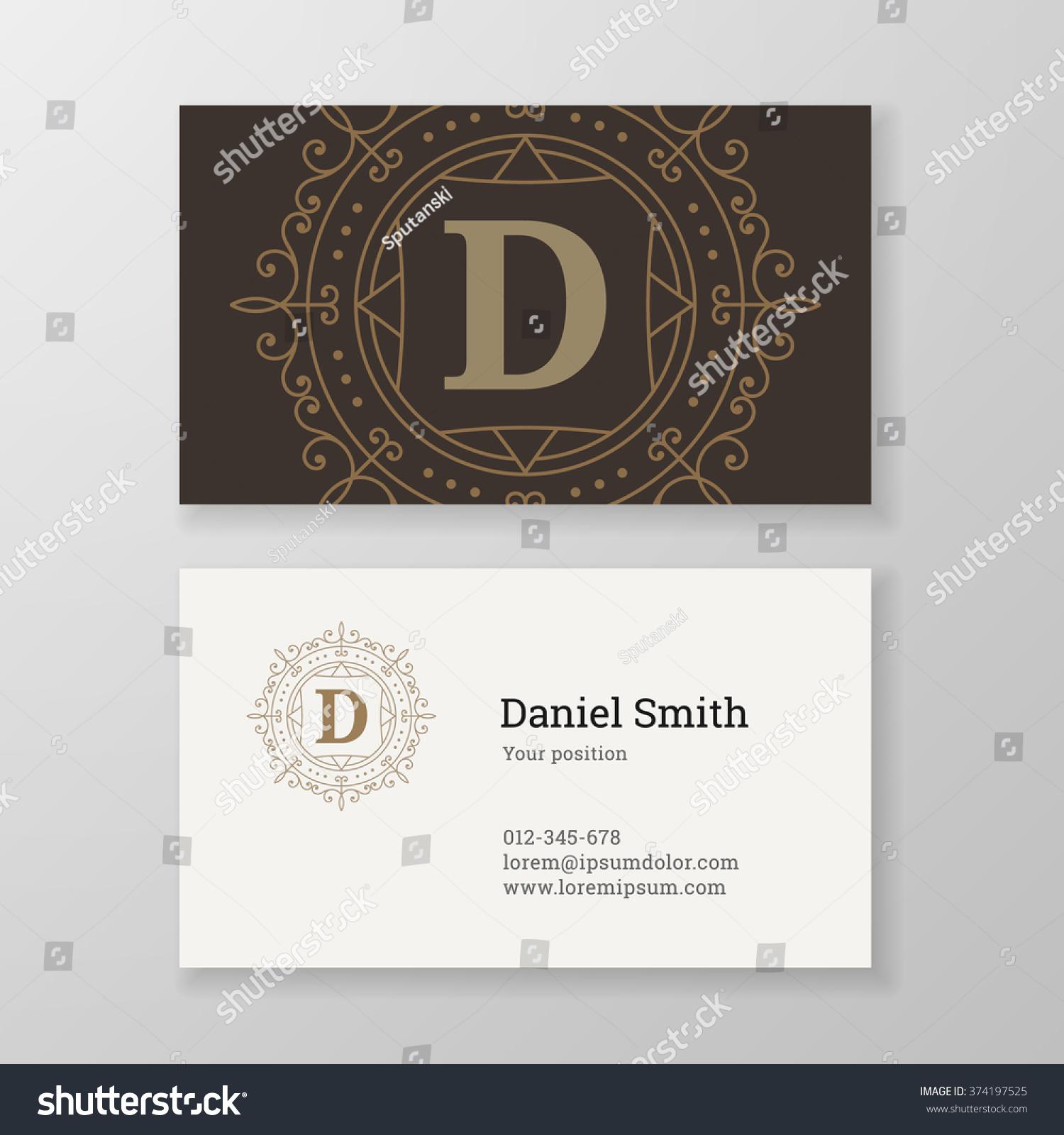 Business Card Monogram Emblem Letter D Stock Vector 374197525 ...