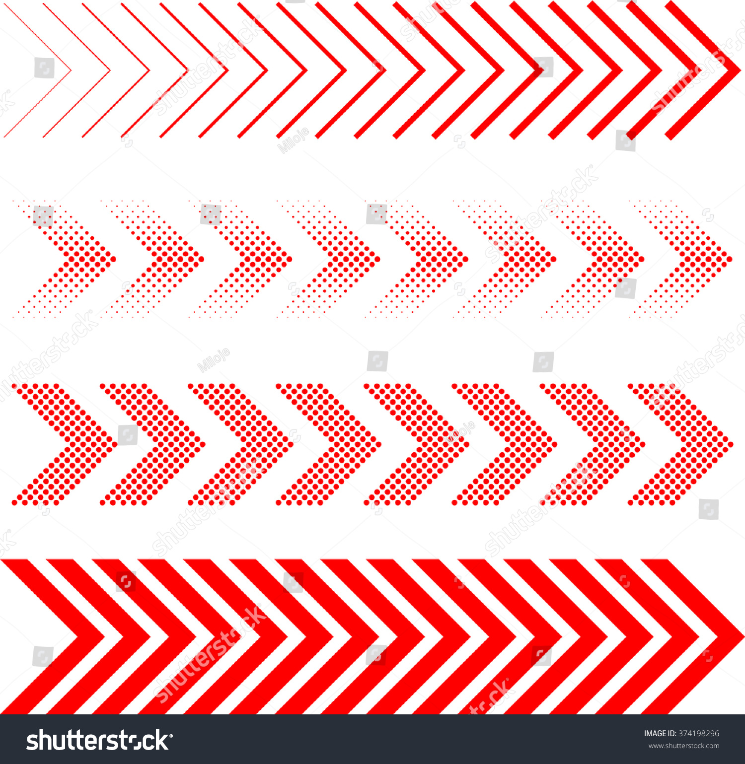 sideways Set . Linear signs collection. Arrow Design .four elements for your design.Striped direction. vector illustration #374198296