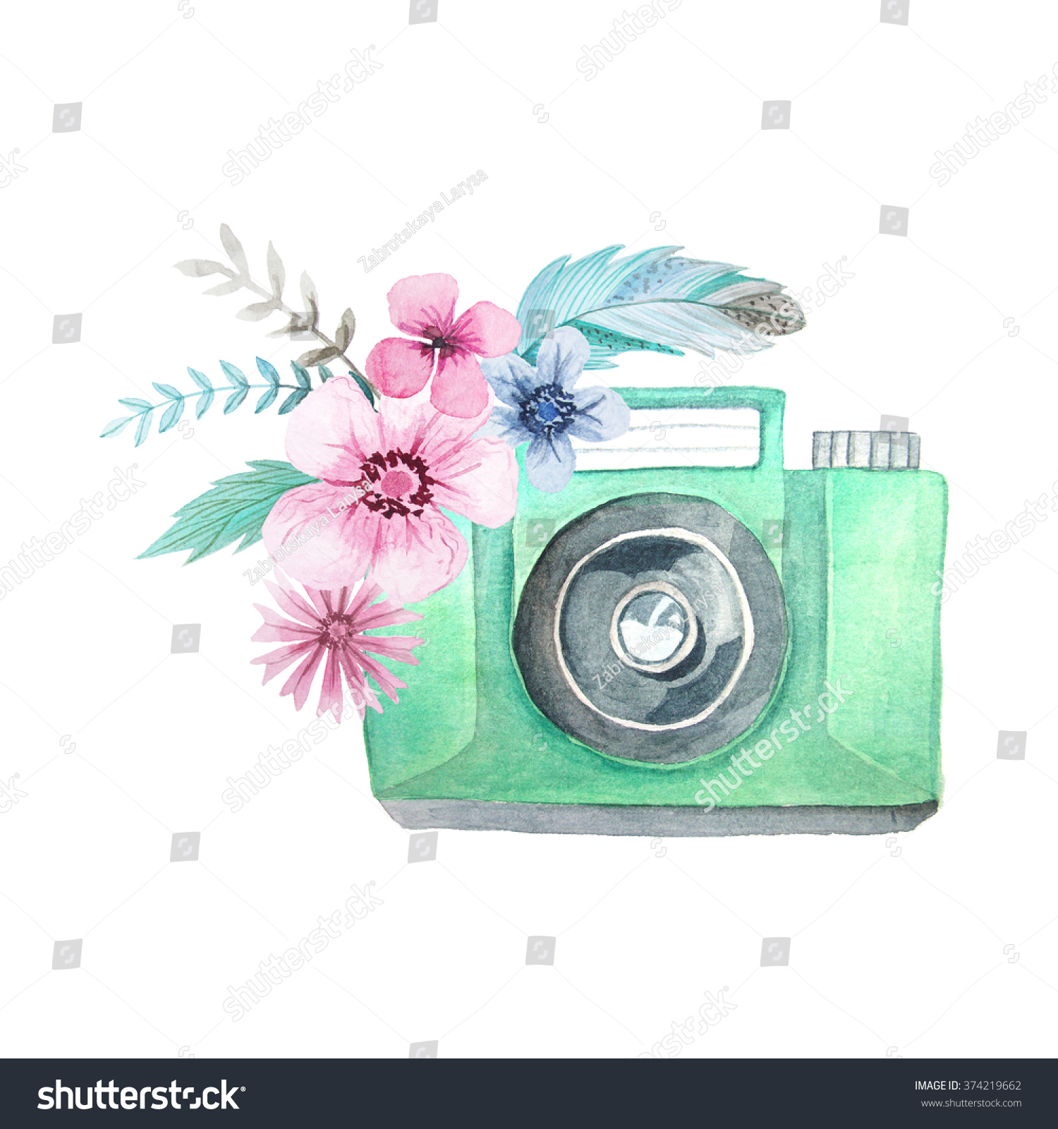 Set Of Watercolor Photo Camera With Flowers Hand Painted