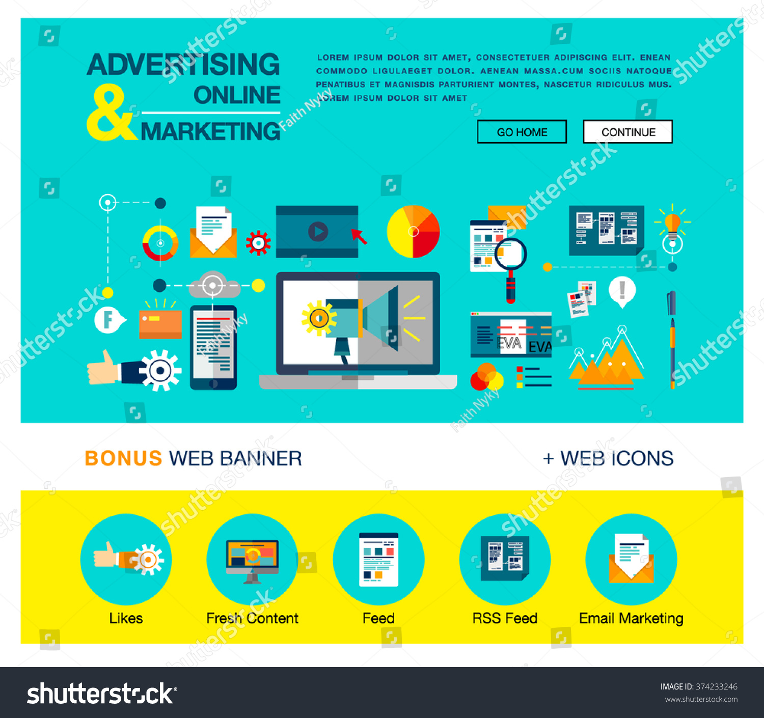 Bright flat web banner template design stock vector for Online marketing campaign template
