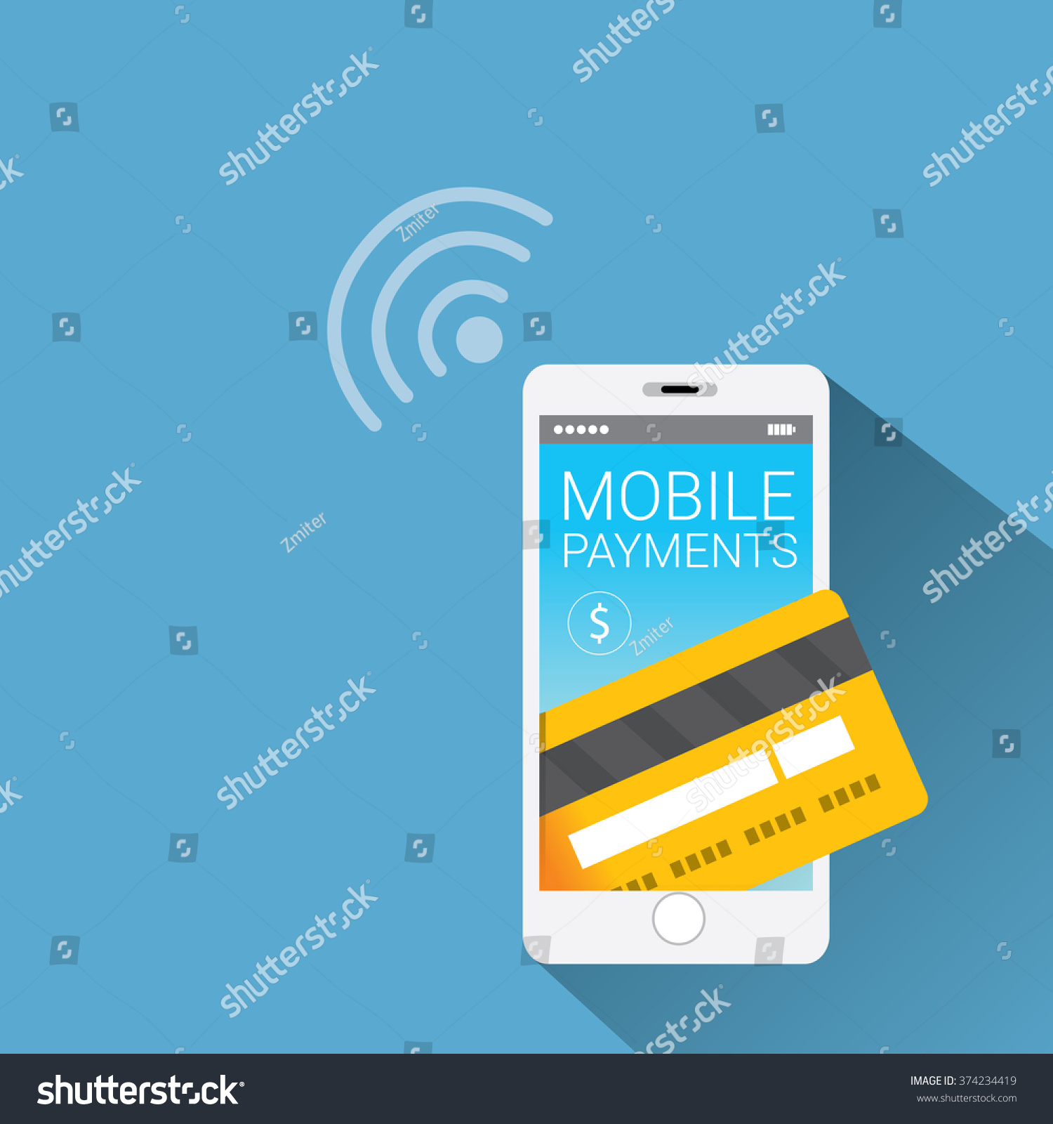 Flat design style vector illustration of modern smartphone with processing of mobile payments from credit card on the screen Internet banking concept wireless money transfer
