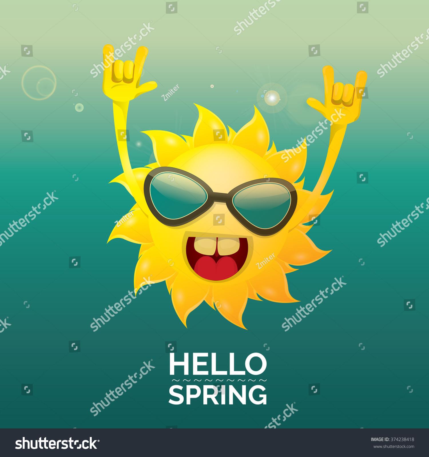 Rock n roll poster design - Sun Hand Rock N Roll Icon Vector Illustration Hello Spring Or Summer Rock Concert Poster