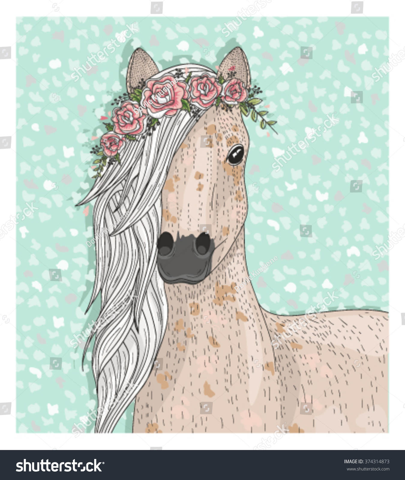 Cute Horse Flowers Fairytale Background Stock Vector Royalty Free 374314873