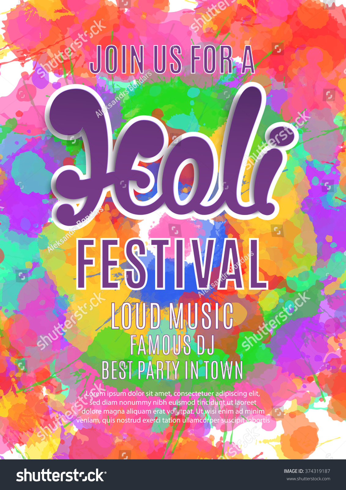 Holi Festival Poster Template Flyer Brochure Stock Photo (Photo ...
