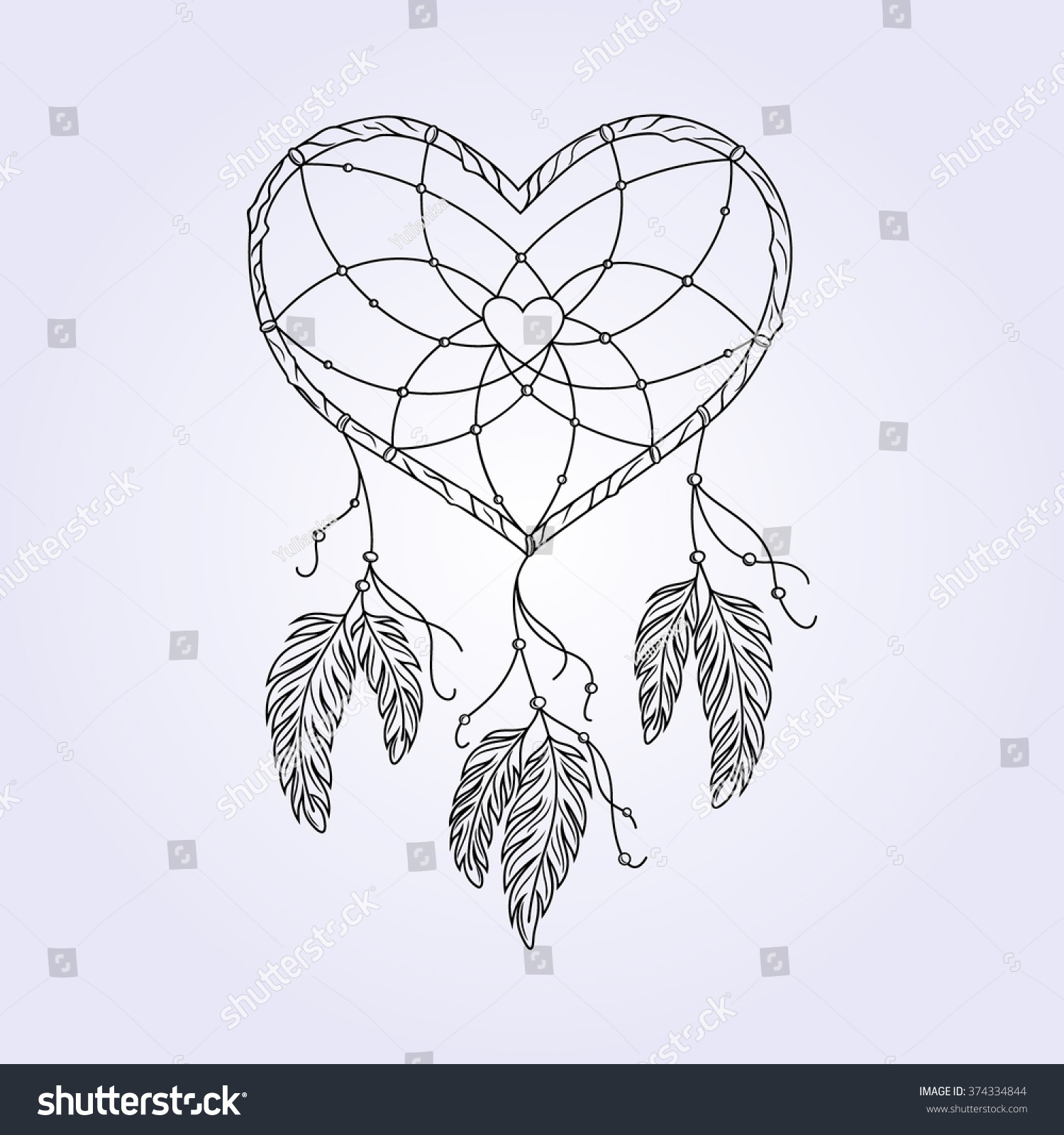 Heart Shaped Dreamcatcher Drawing