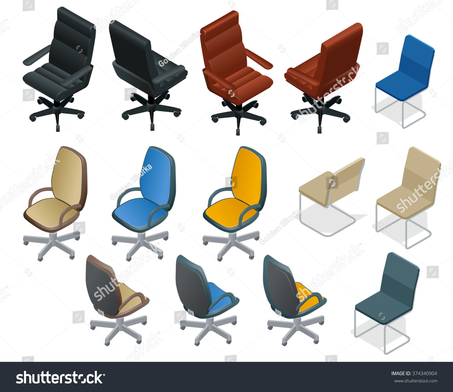 Office Chair On White Background Big Set Of Furniture Flat 3d Isometric Vector