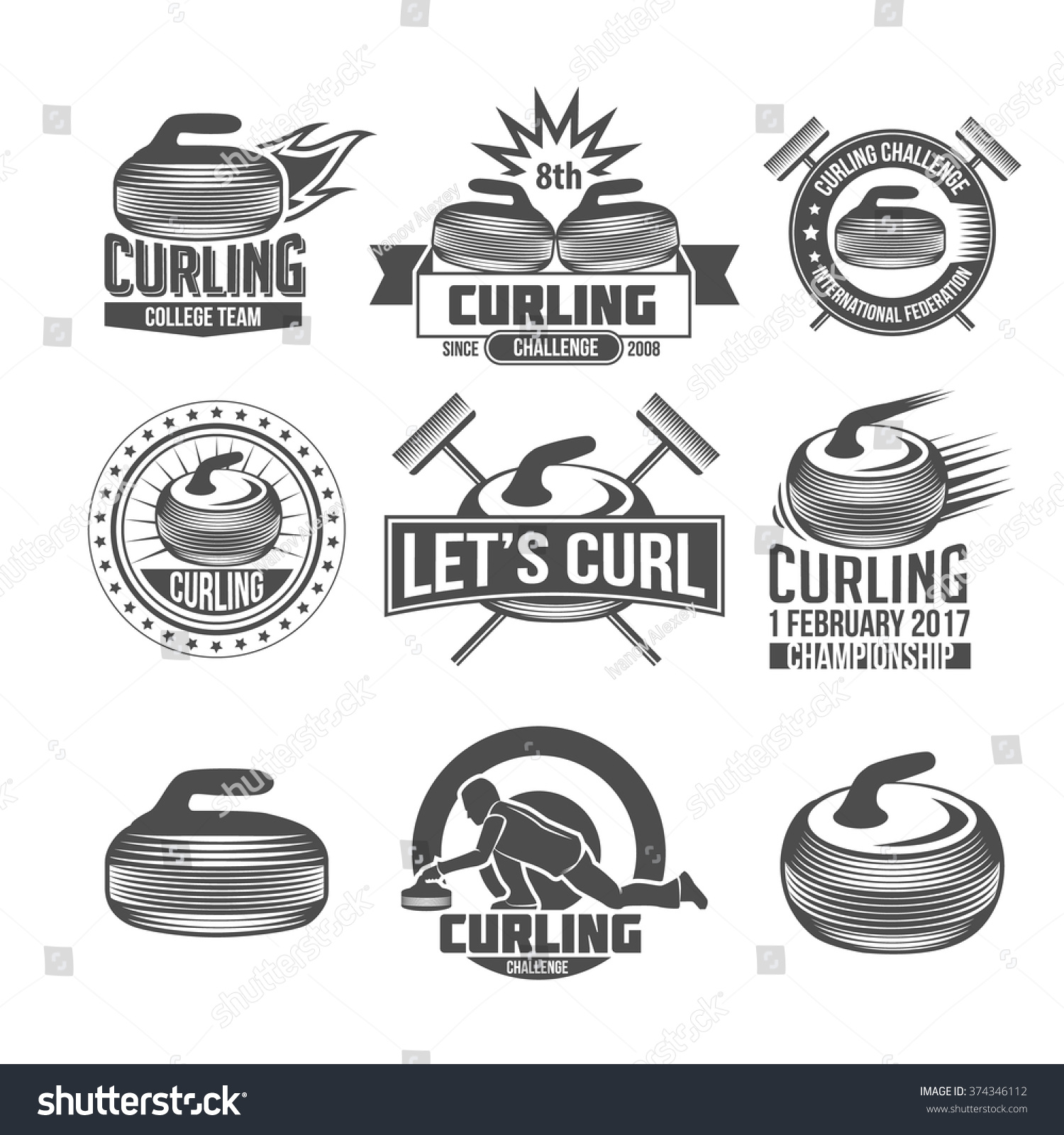 curling game vintage badges set winter stock vector