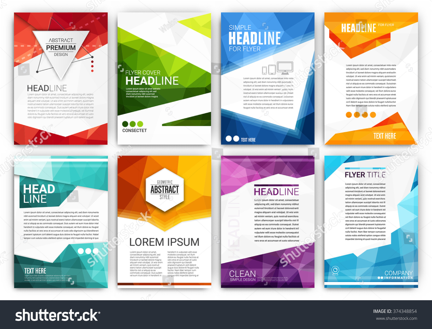 Poster design template - Poster Design Template Set Abstract Modern Polygonal Flyer Collection