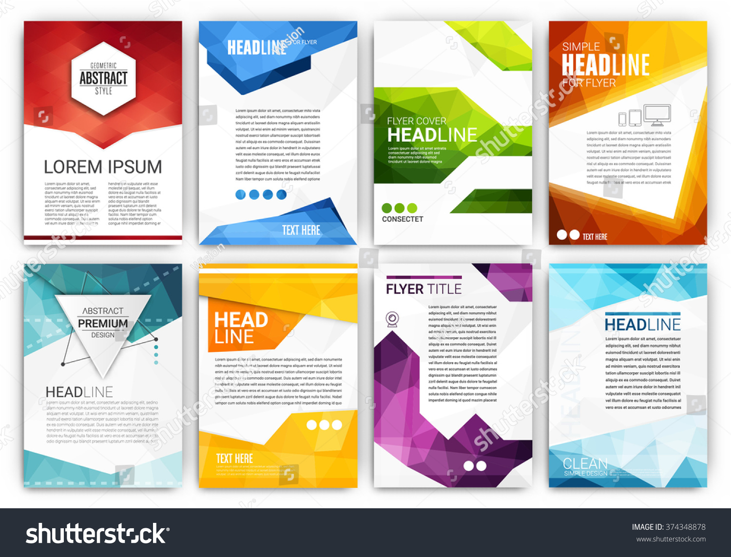 poster design template set abstract modern stock vector (royalty