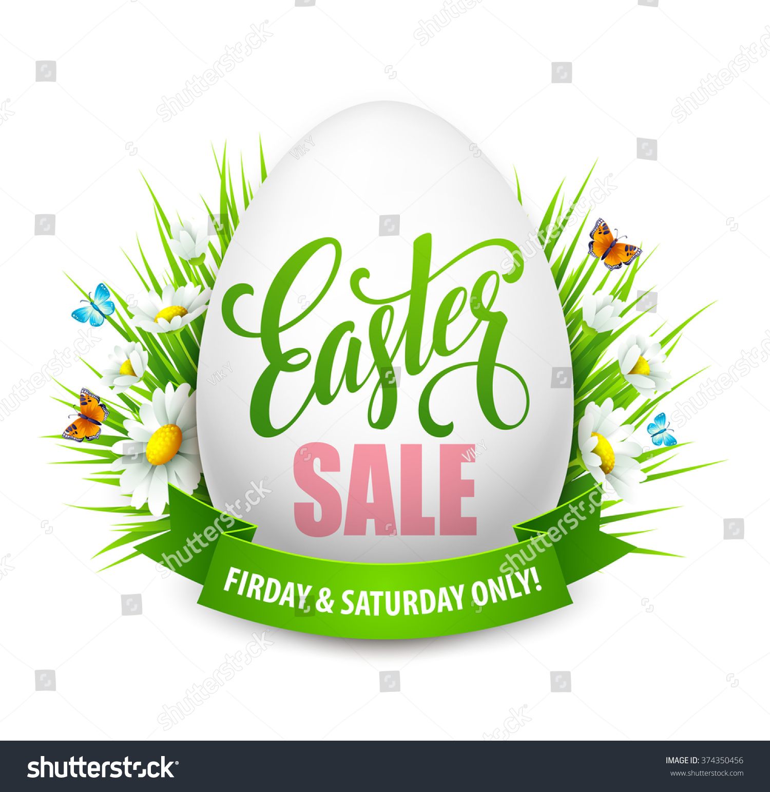 Easter Sale: Easter Sale Background Eggs Spring Flower Stock Vector