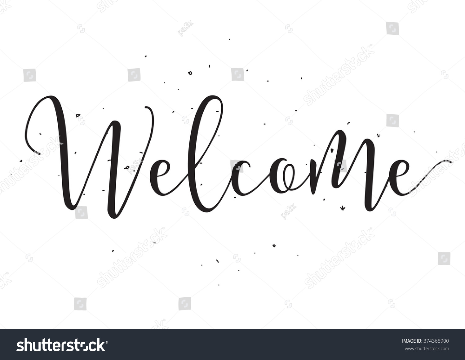 Welcome Inscription Greeting Card With Calligraphy Hand