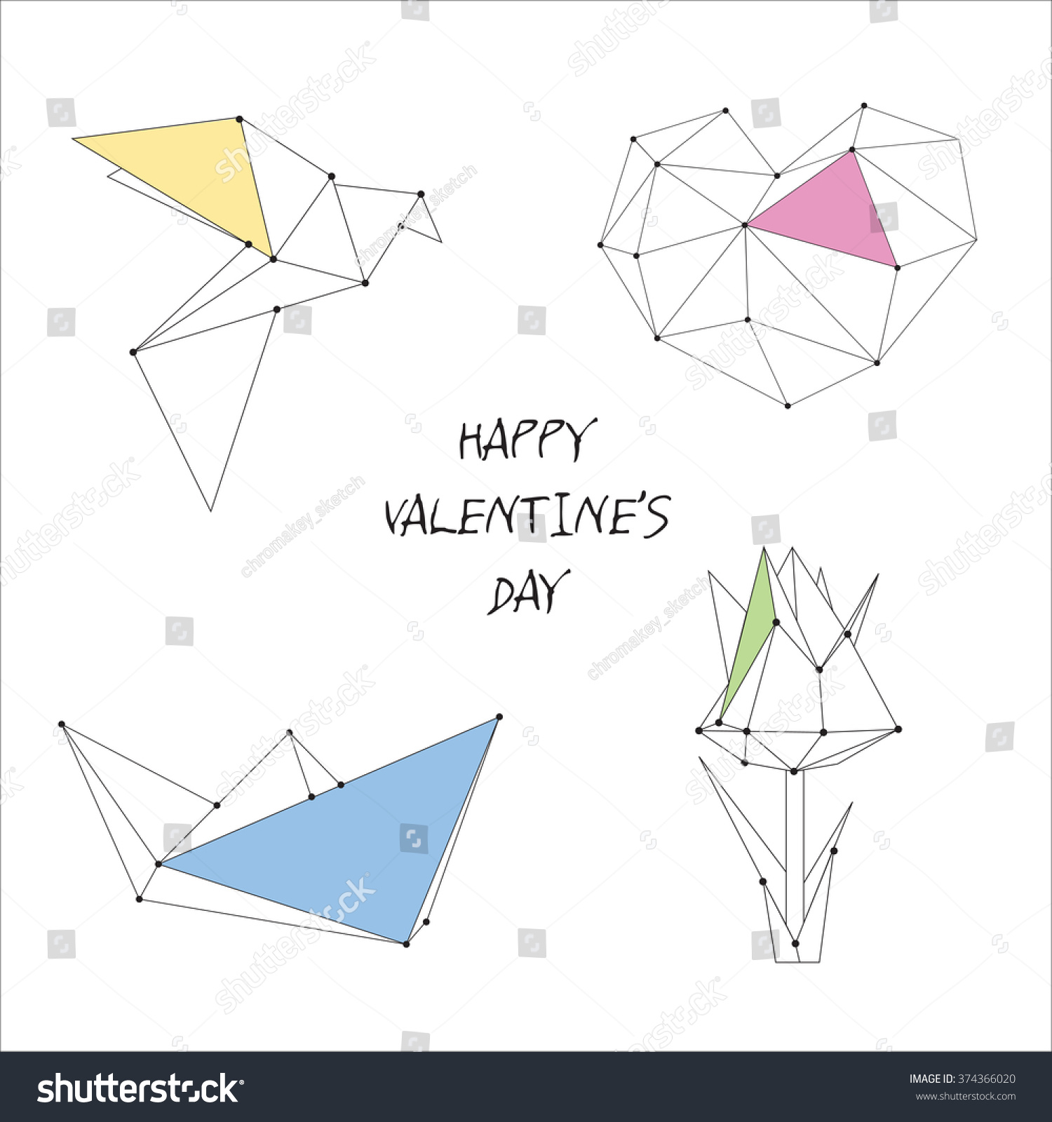 Vector Valentines Day Card Origami Heart Stock Vector Royalty Free