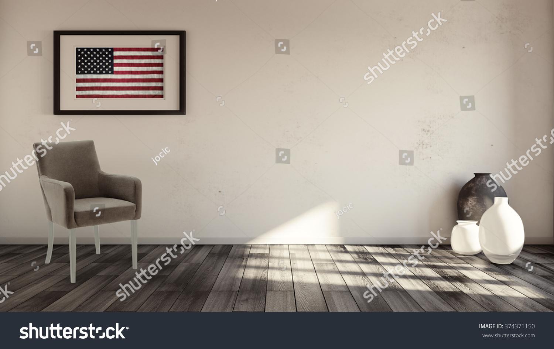 Rustic Interior Usa Flag Framed On Stock Illustration 374371150 ...
