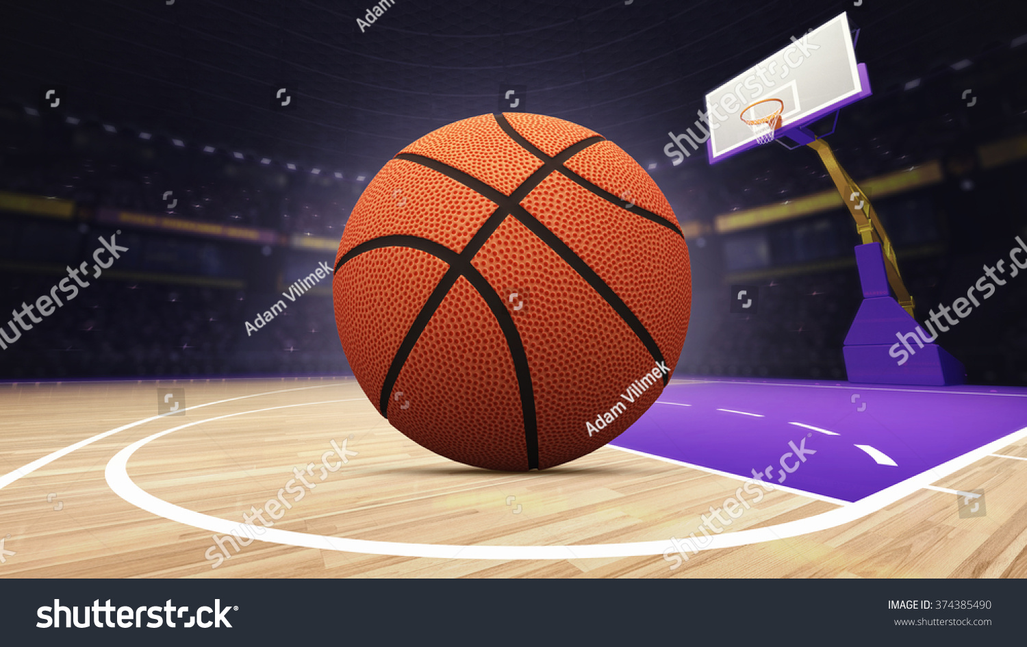 Basket ball on basketball court arena stock illustration for Custom basketball court cost