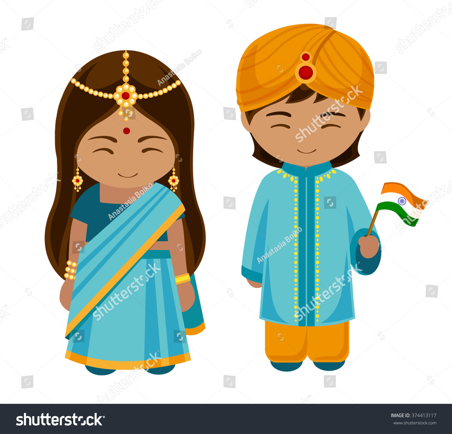 indians national dress flag man woman stock vector