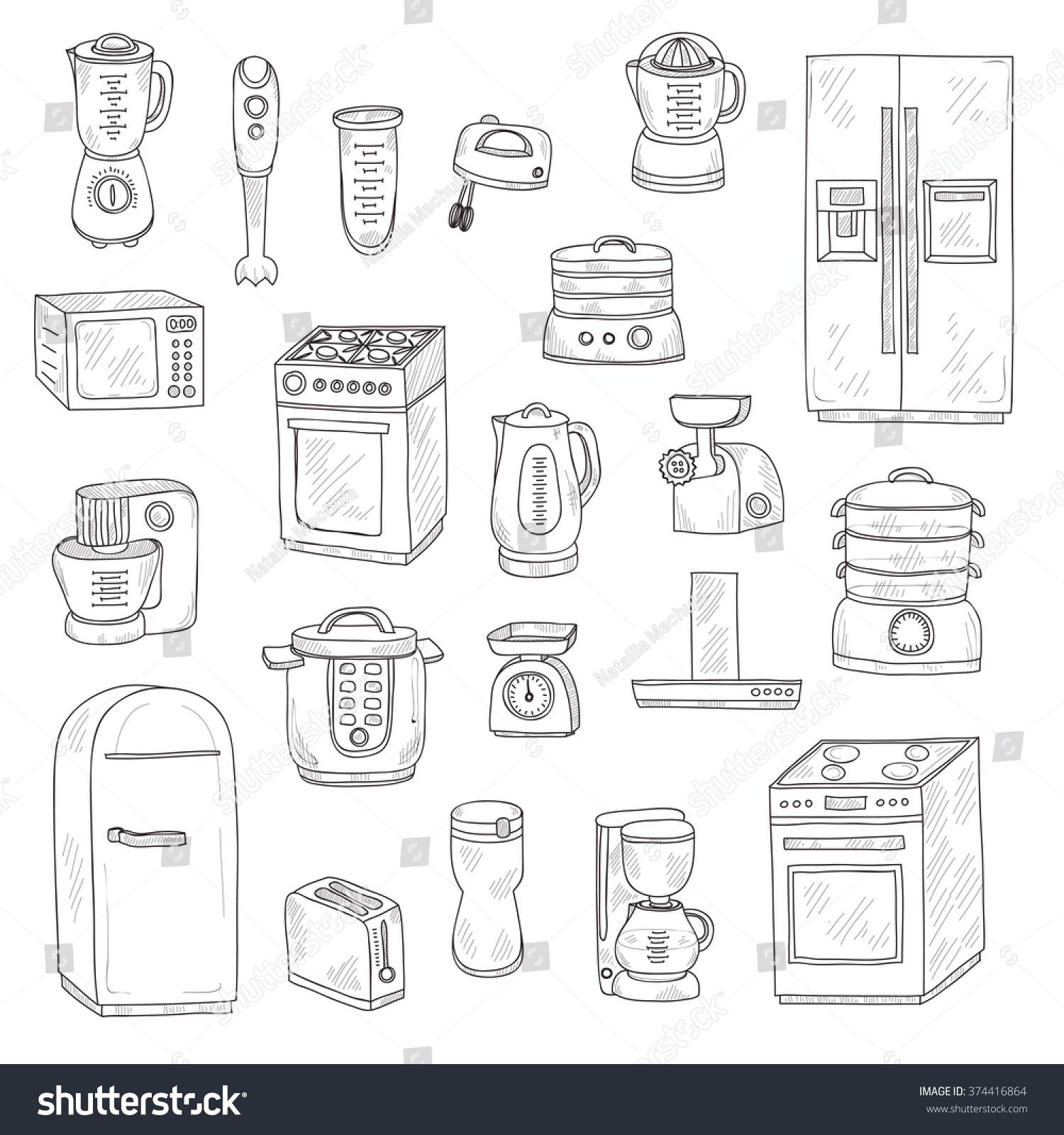 set cute hand drawn kitchen appliances stock vector 374416864 set of cute hand drawn kitchen appliances vector kitchen collection