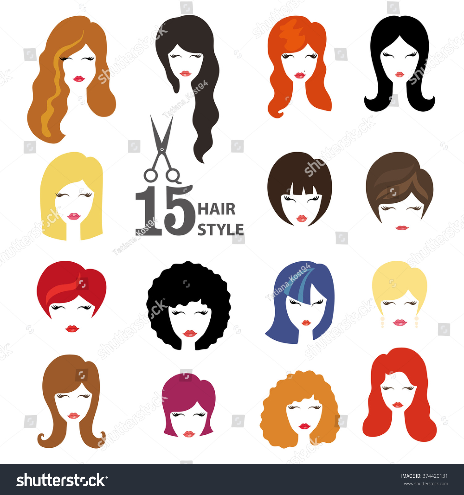 Hairstyle Silhouette Womangirlfemale Hairface Beauty Vectorflat