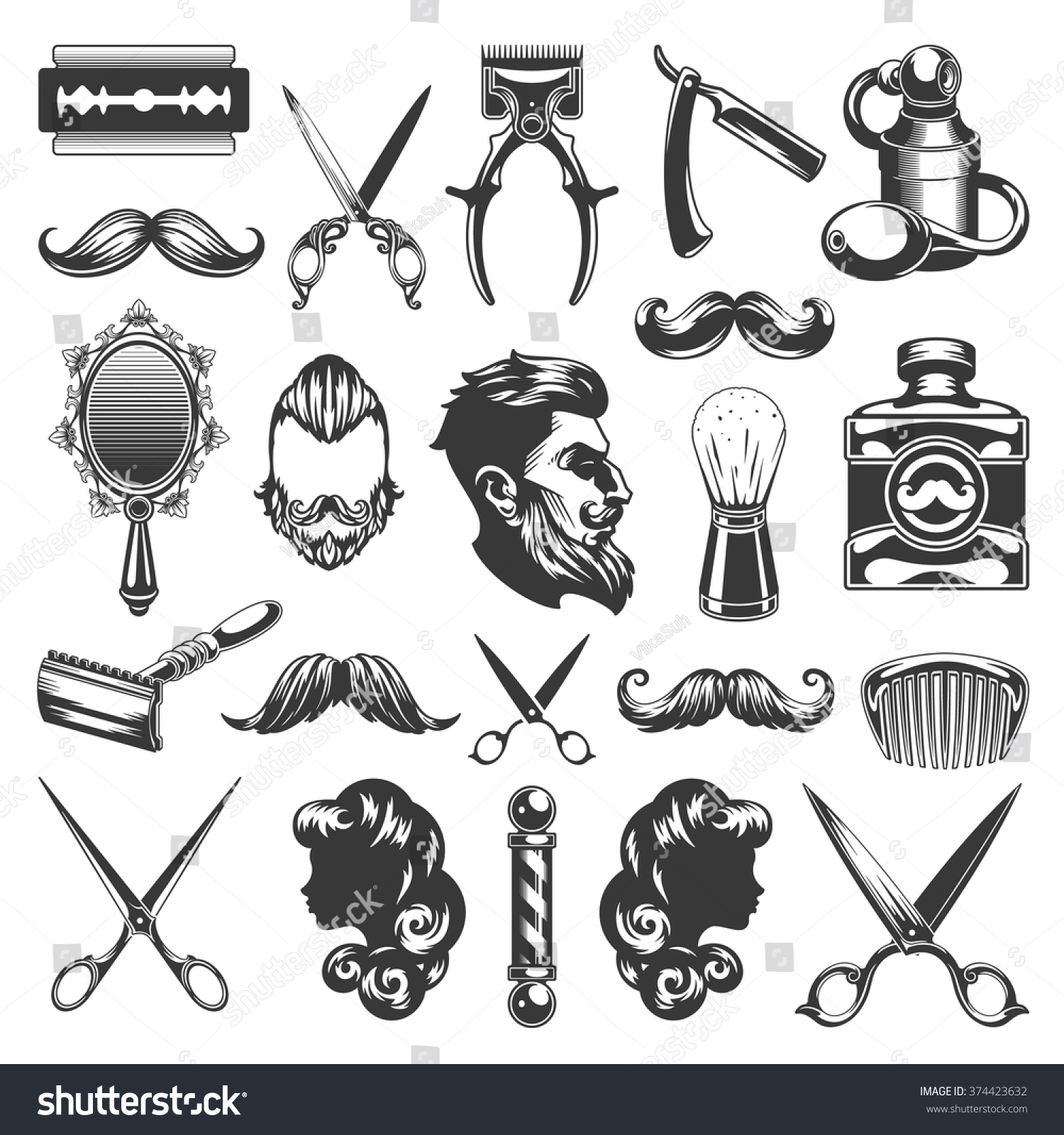 Barber Shop Vector Silhouettes Icons Set Stock Vector ...