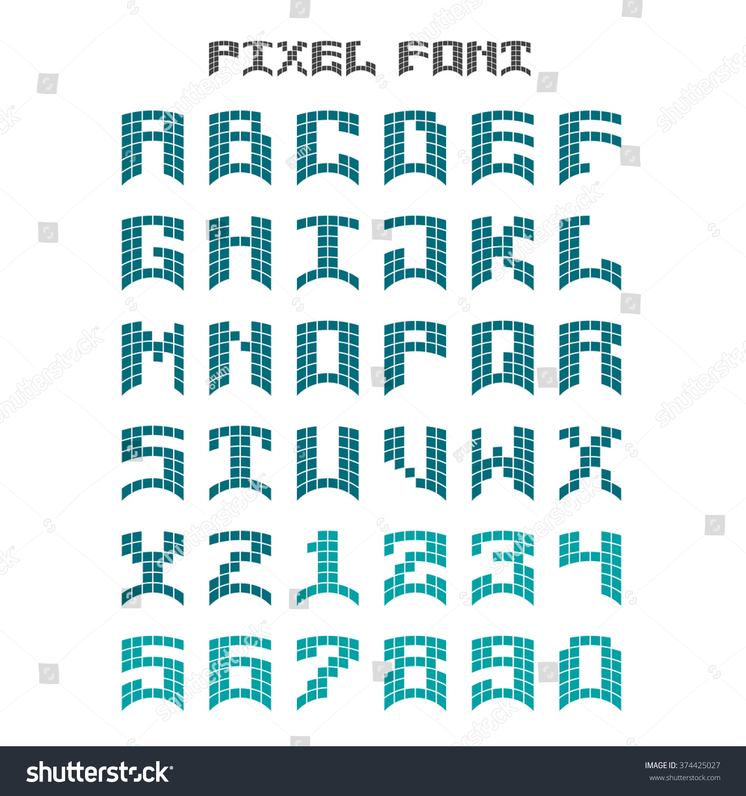 Vector Letters Style Mosaic Design Latin Stock Vector