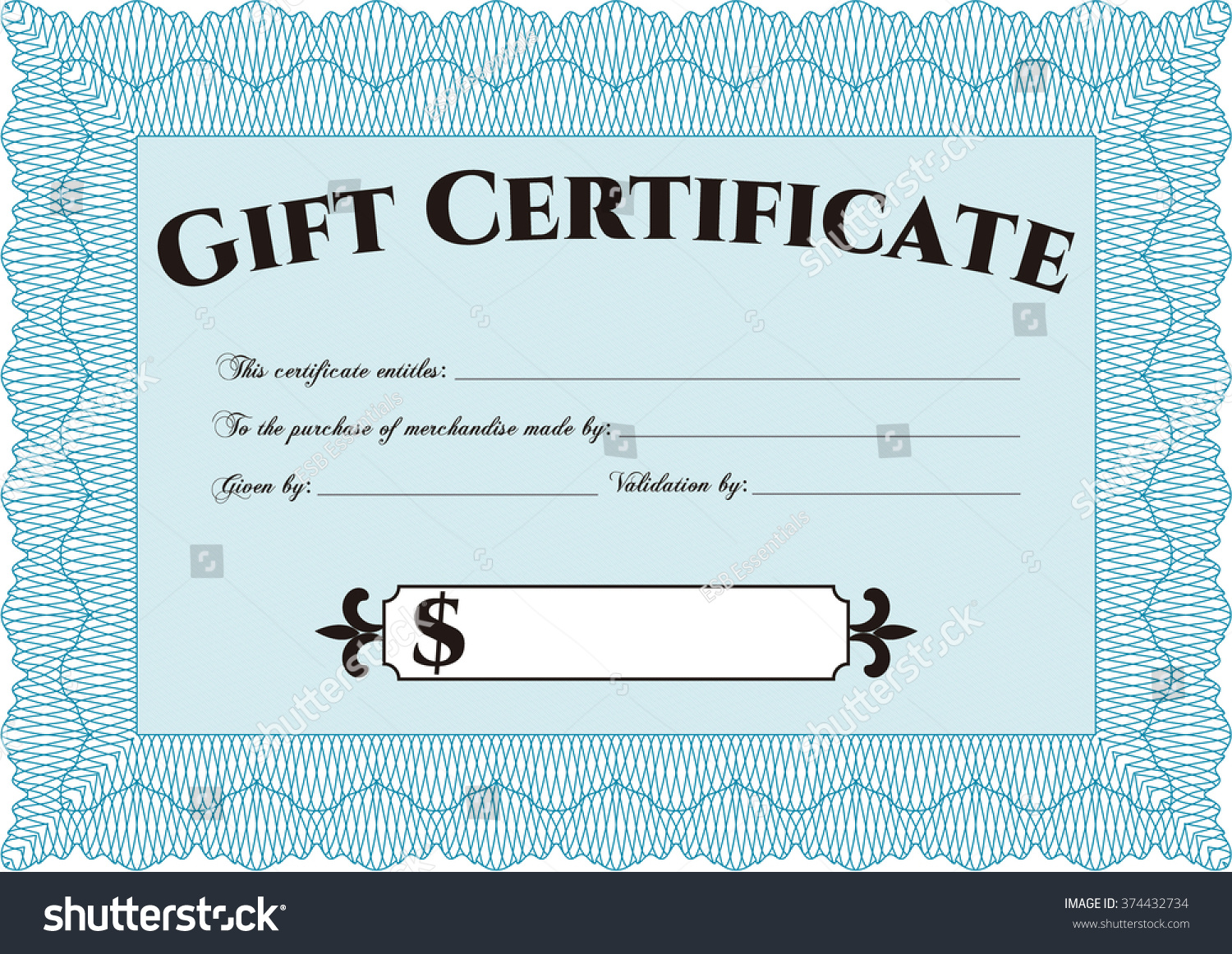 Gift certificate template detailed printer friendly stock vector gift certificate template detailed printer friendly complex design alramifo Image collections