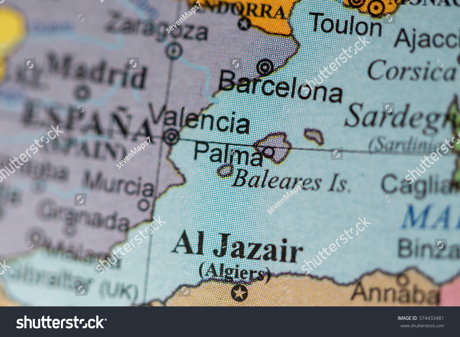 Map View Barcelona Spain On Geographical Stock Photo Edit Now