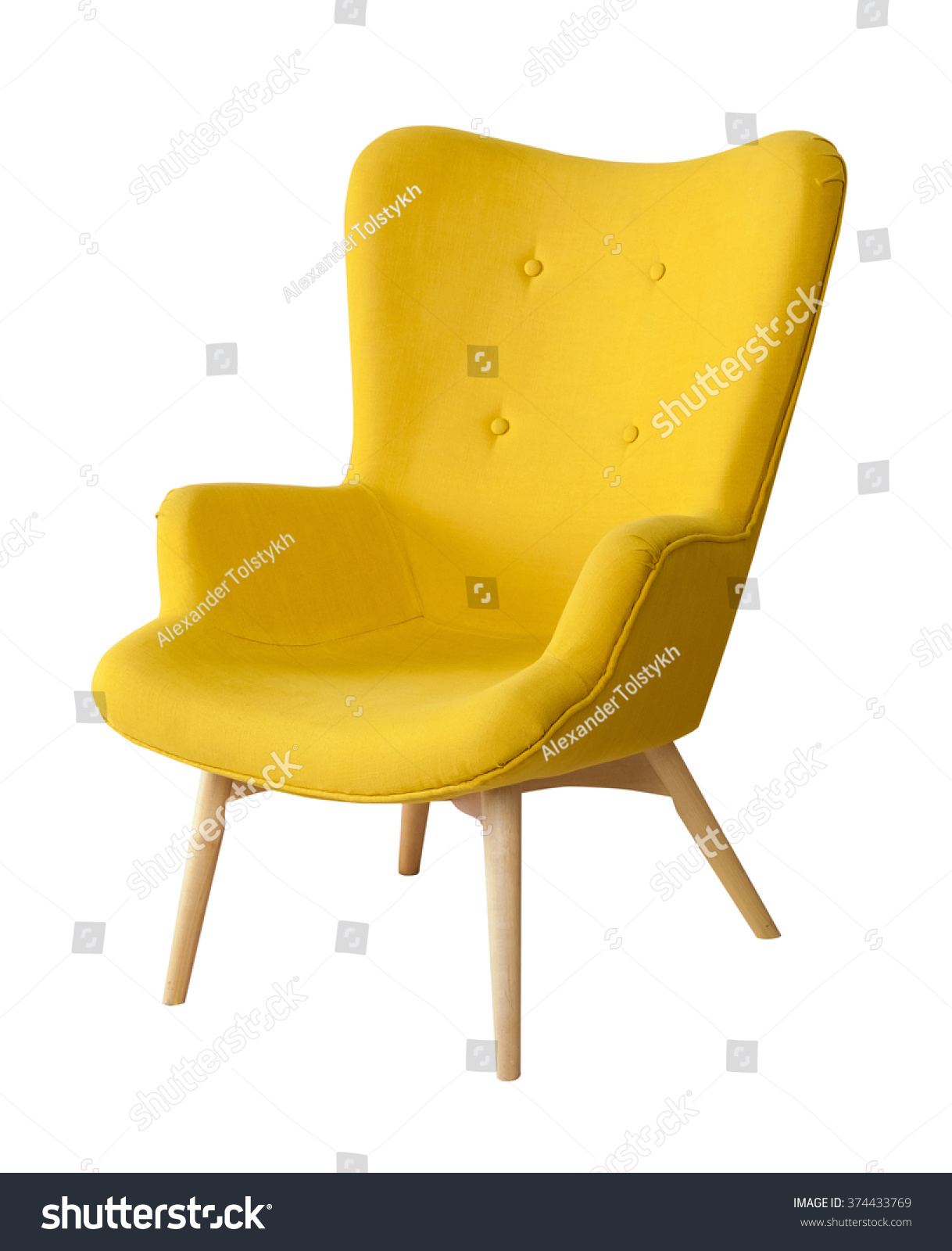 Yellow Modern Chair Isolated White Stock