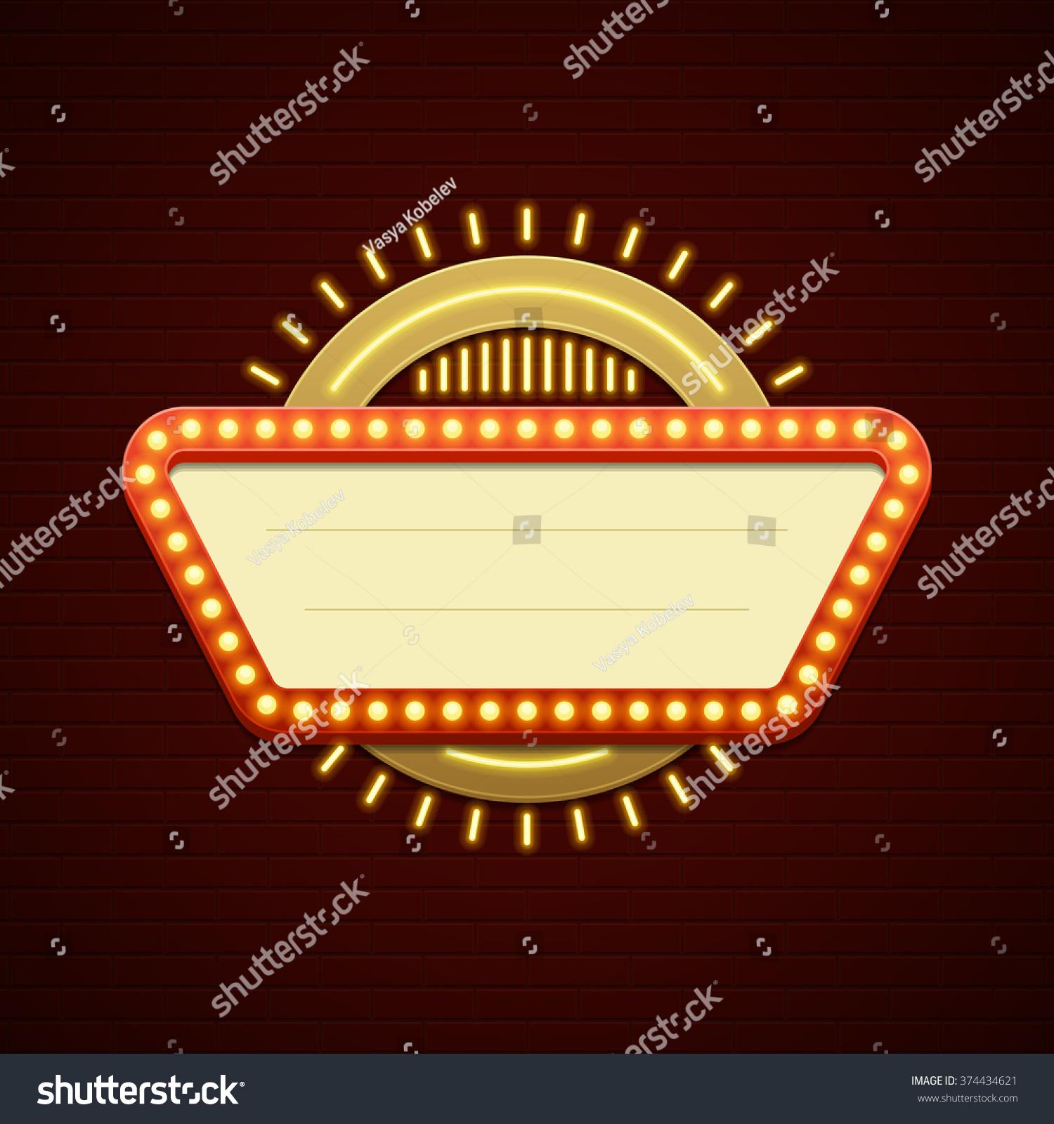 Retro Showtime Sign Design Cinema Signage Stock Vector