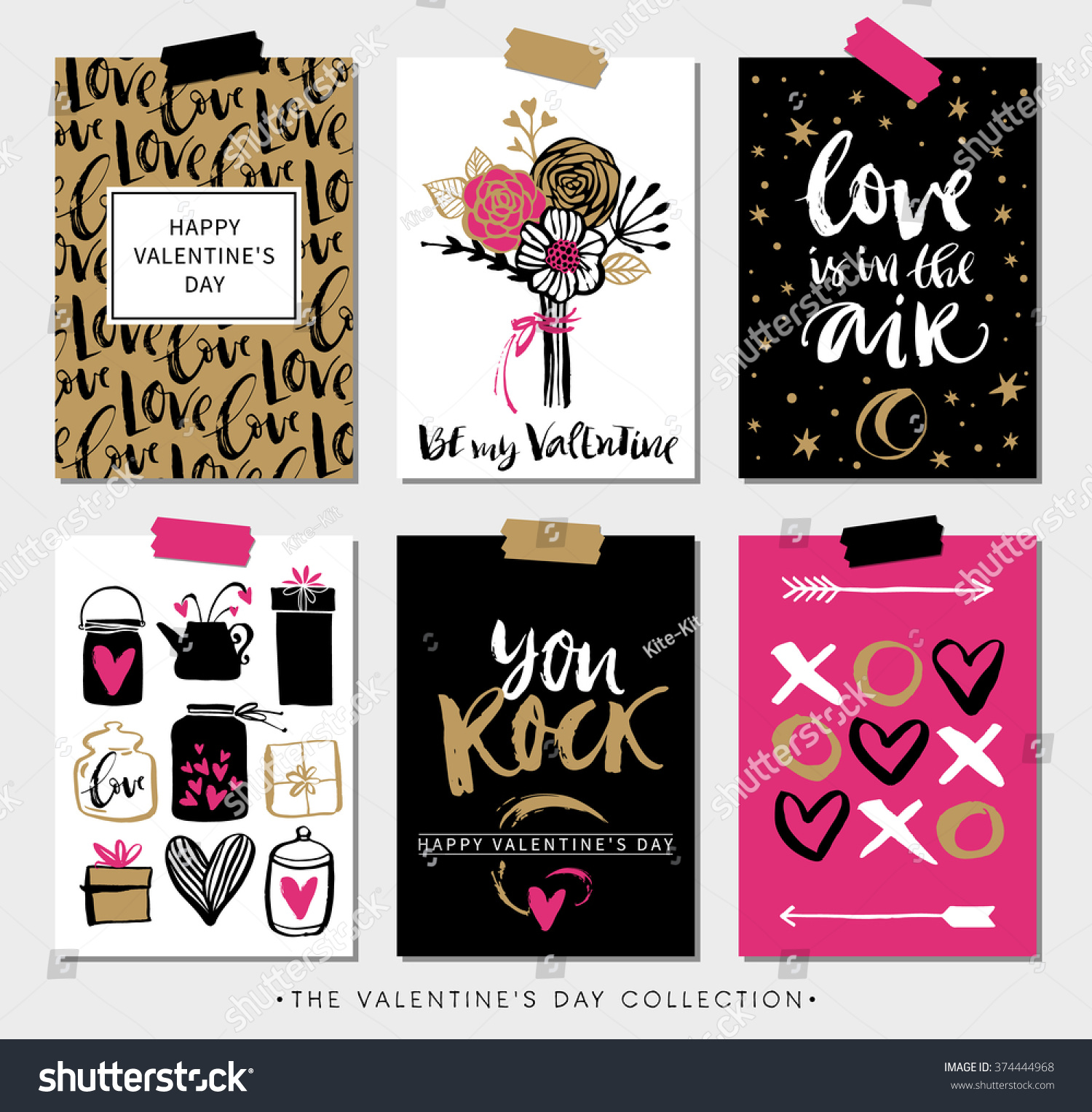 Valentines day gift cards calligraphy hand stock vector