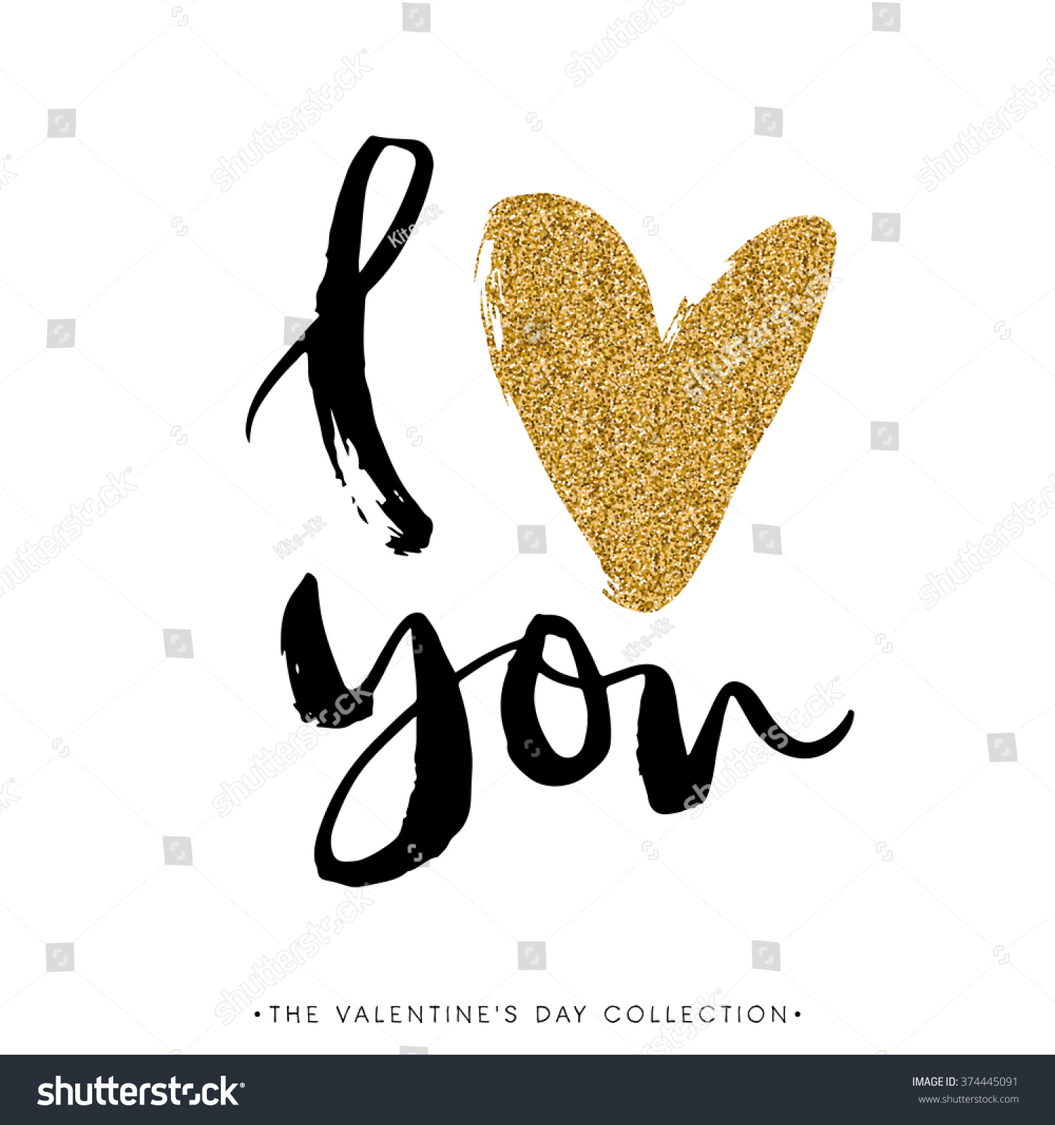 Love You Heart You Valentines Day Stock-Vektorgrafik 374445091 ...